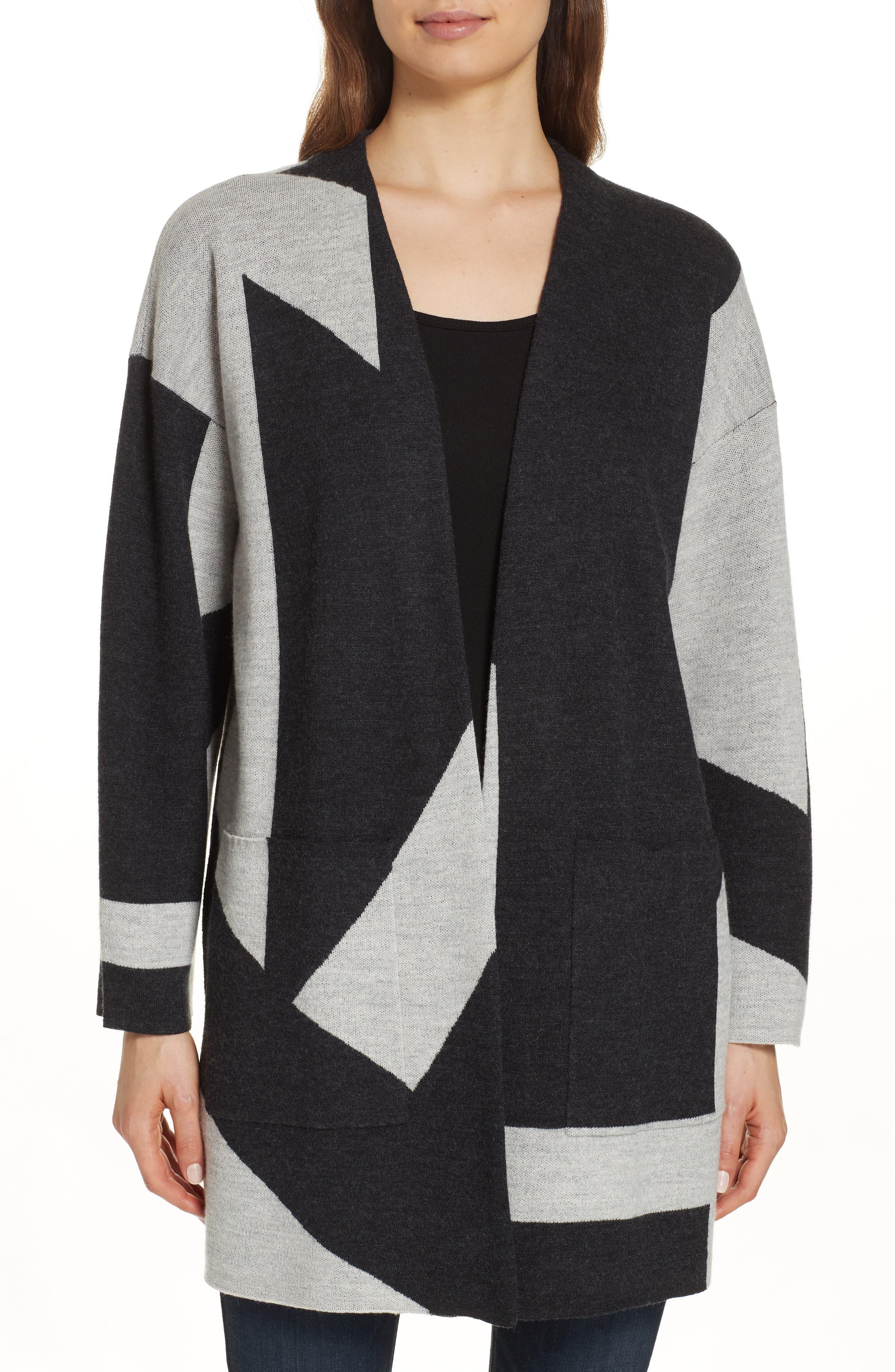 Eileen Fisher Colorblock Merino Wool Kimono Cardigan, Grey