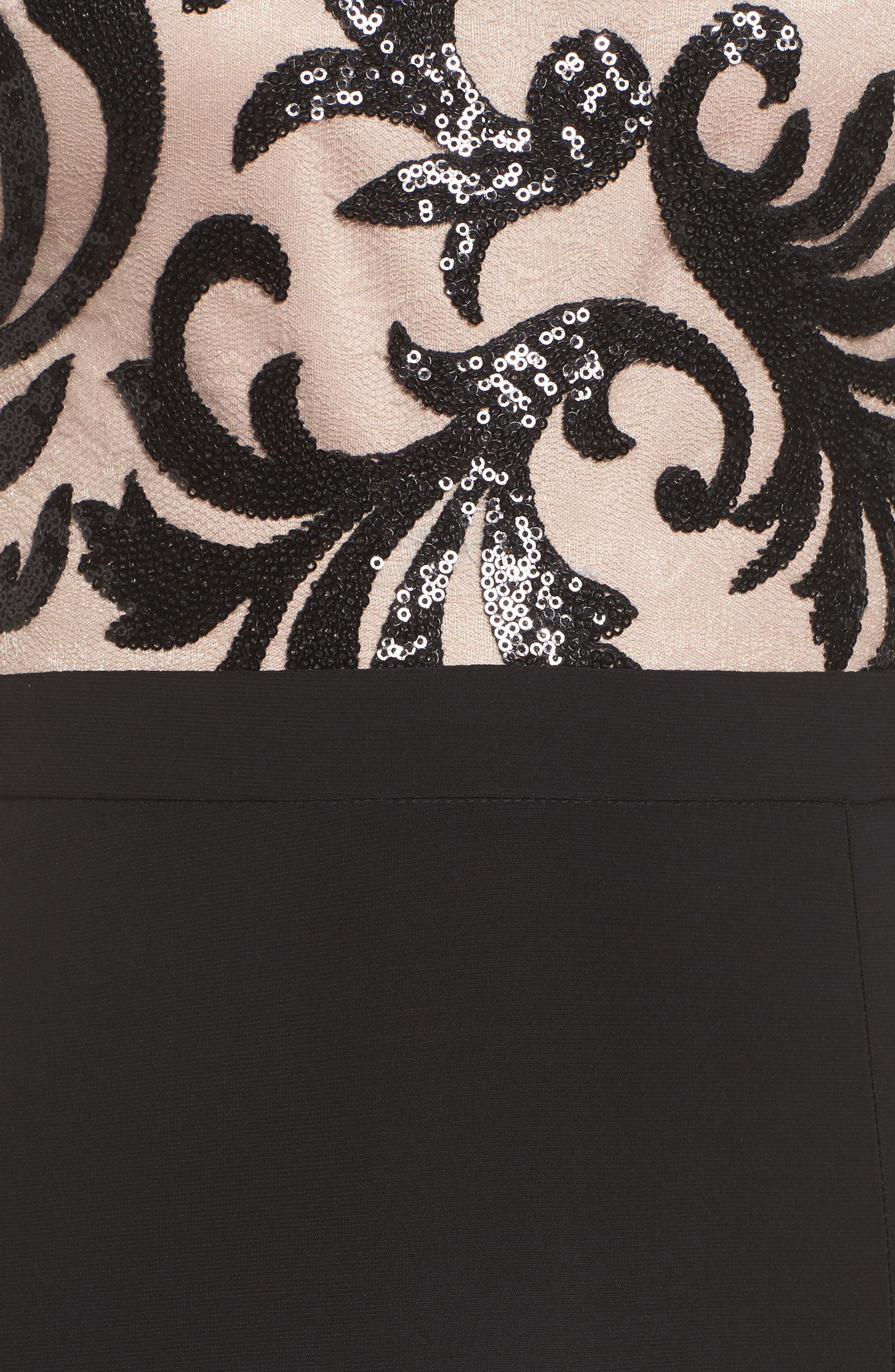 Sequin Embroidered Stretch Knit Gown,                             Alternate thumbnail 5, color,                             BLACK / NUDE