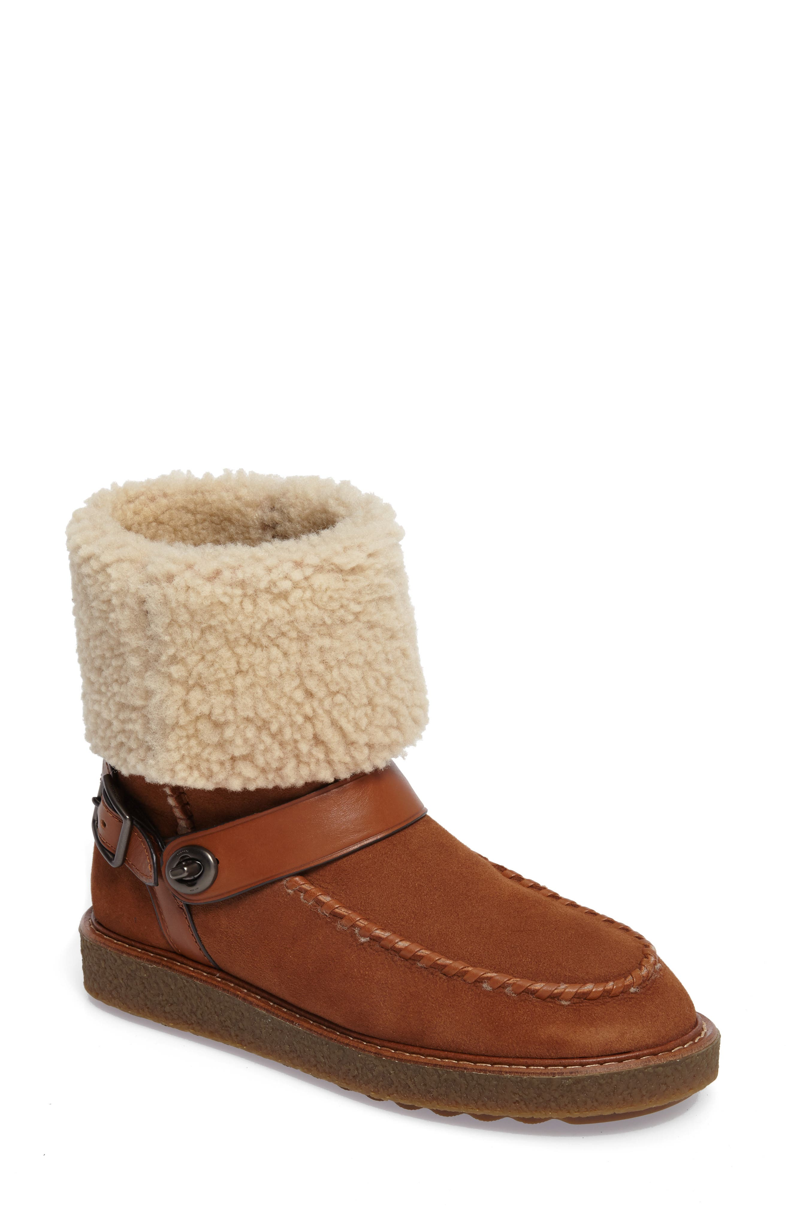 Genuine Shearling Moto Boot,                             Main thumbnail 2, color,