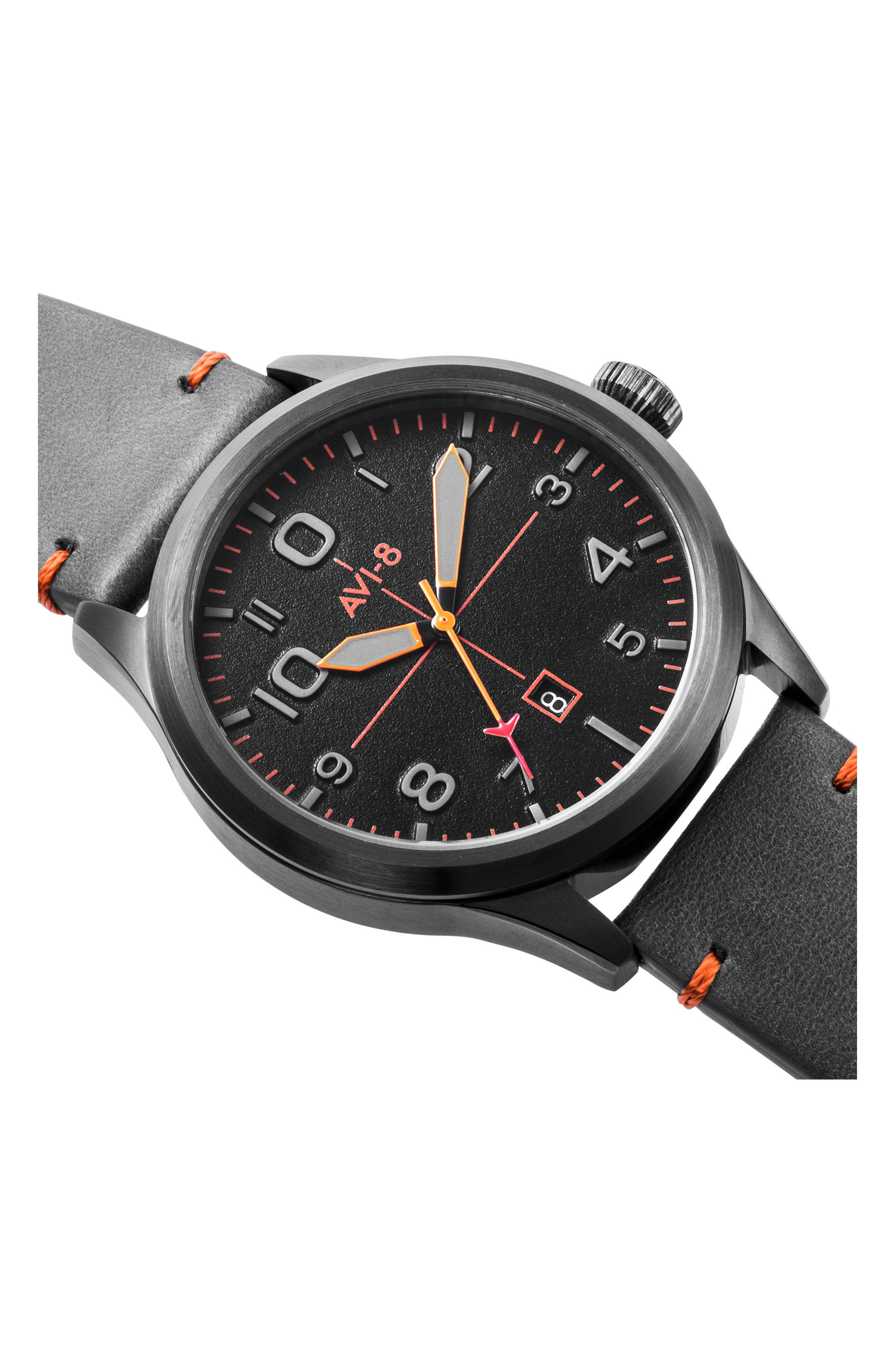 Flyboy Leather Strap Watch, 43mm,                             Alternate thumbnail 4, color,