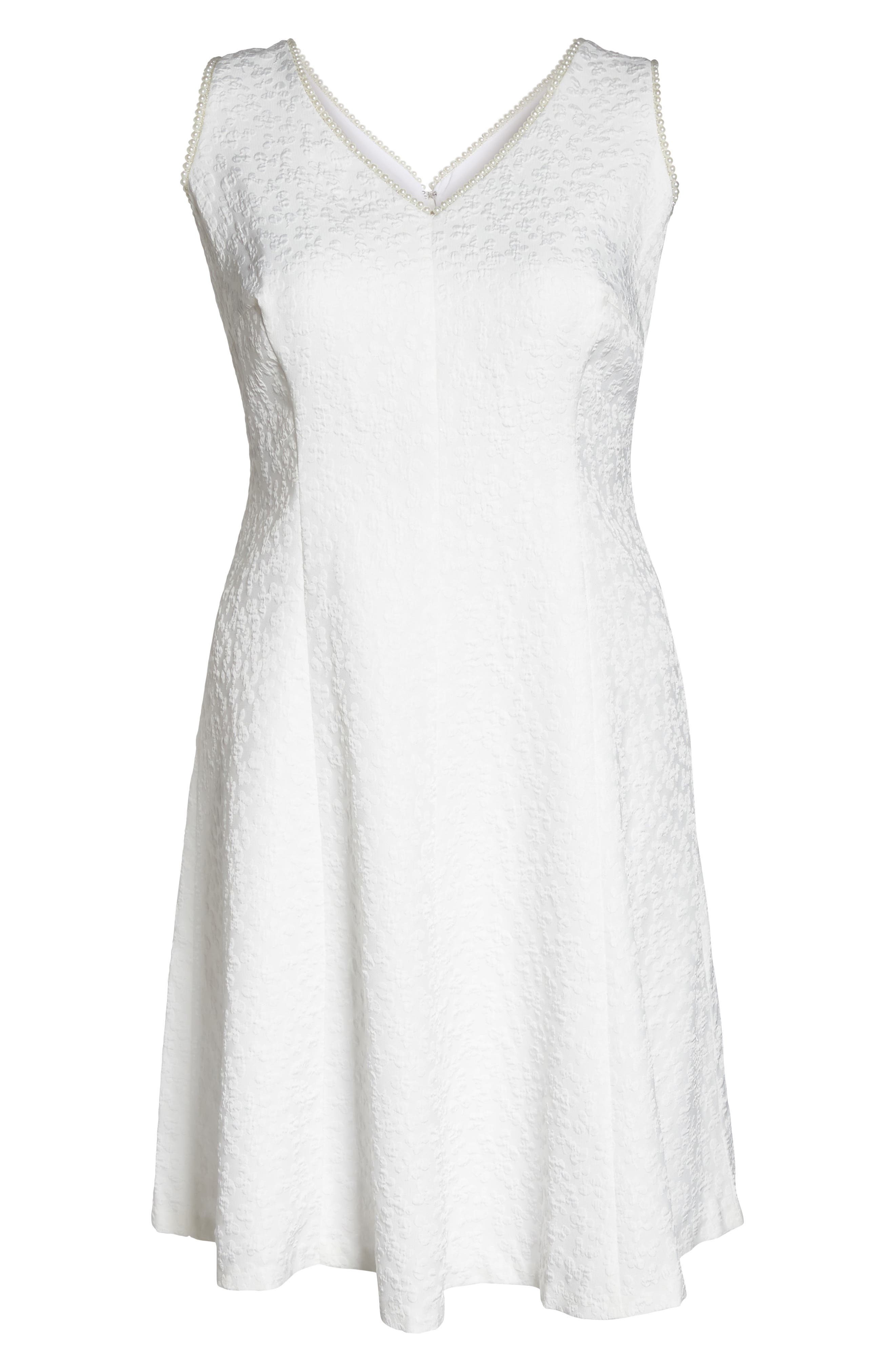 Textured Fit & Flare Dress,                             Alternate thumbnail 6, color,                             WHITE