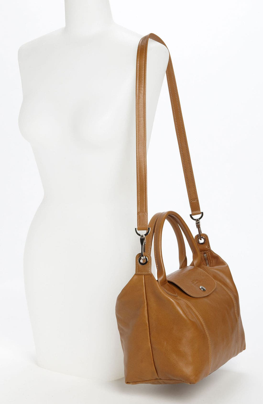 Small 'Le Pliage Cuir' Leather Top Handle Tote,                             Alternate thumbnail 33, color,