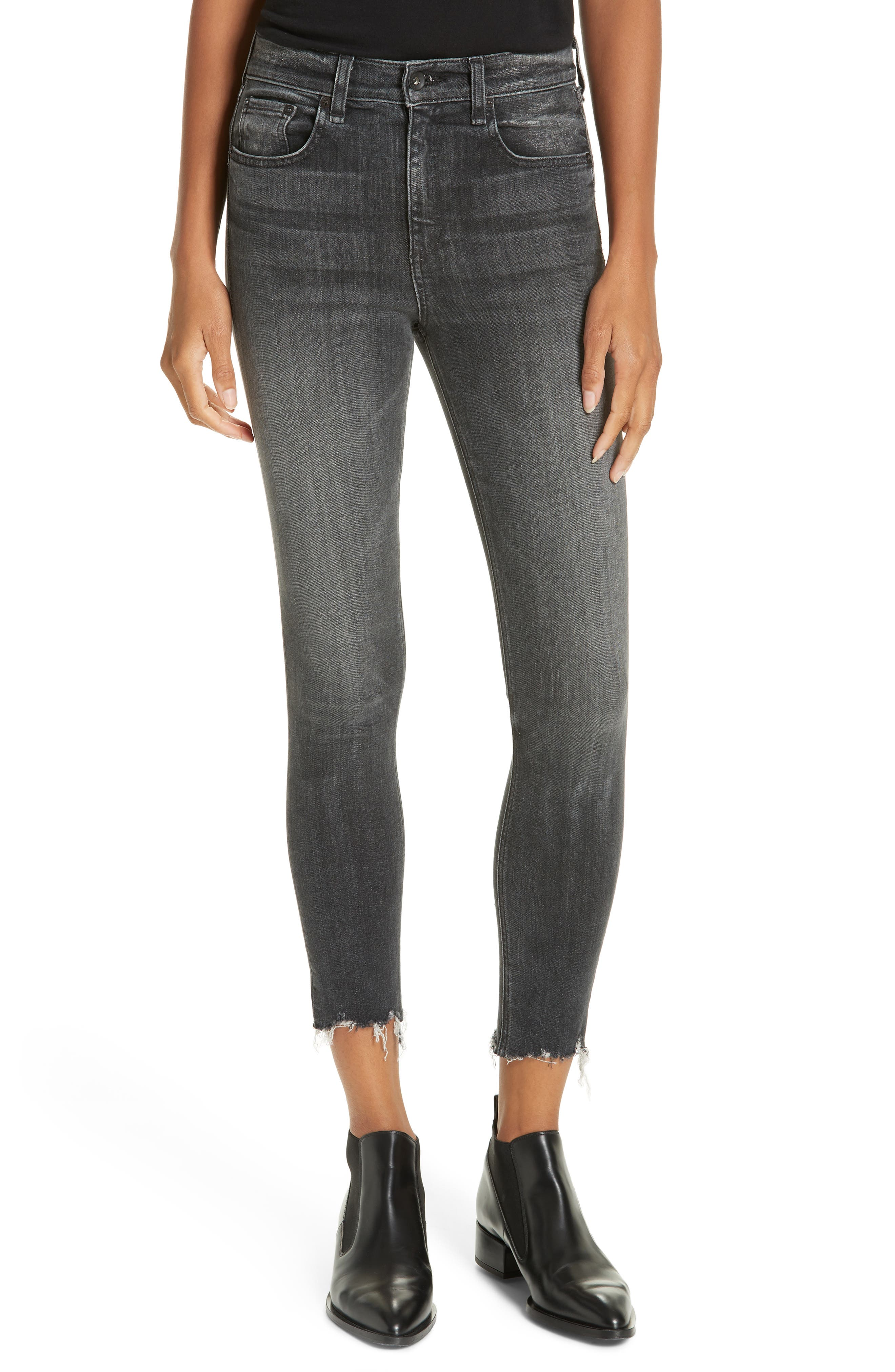 rag & bone High Waist Raw Hem Crop Skinny Jeans,                         Main,                         color, BRANDI