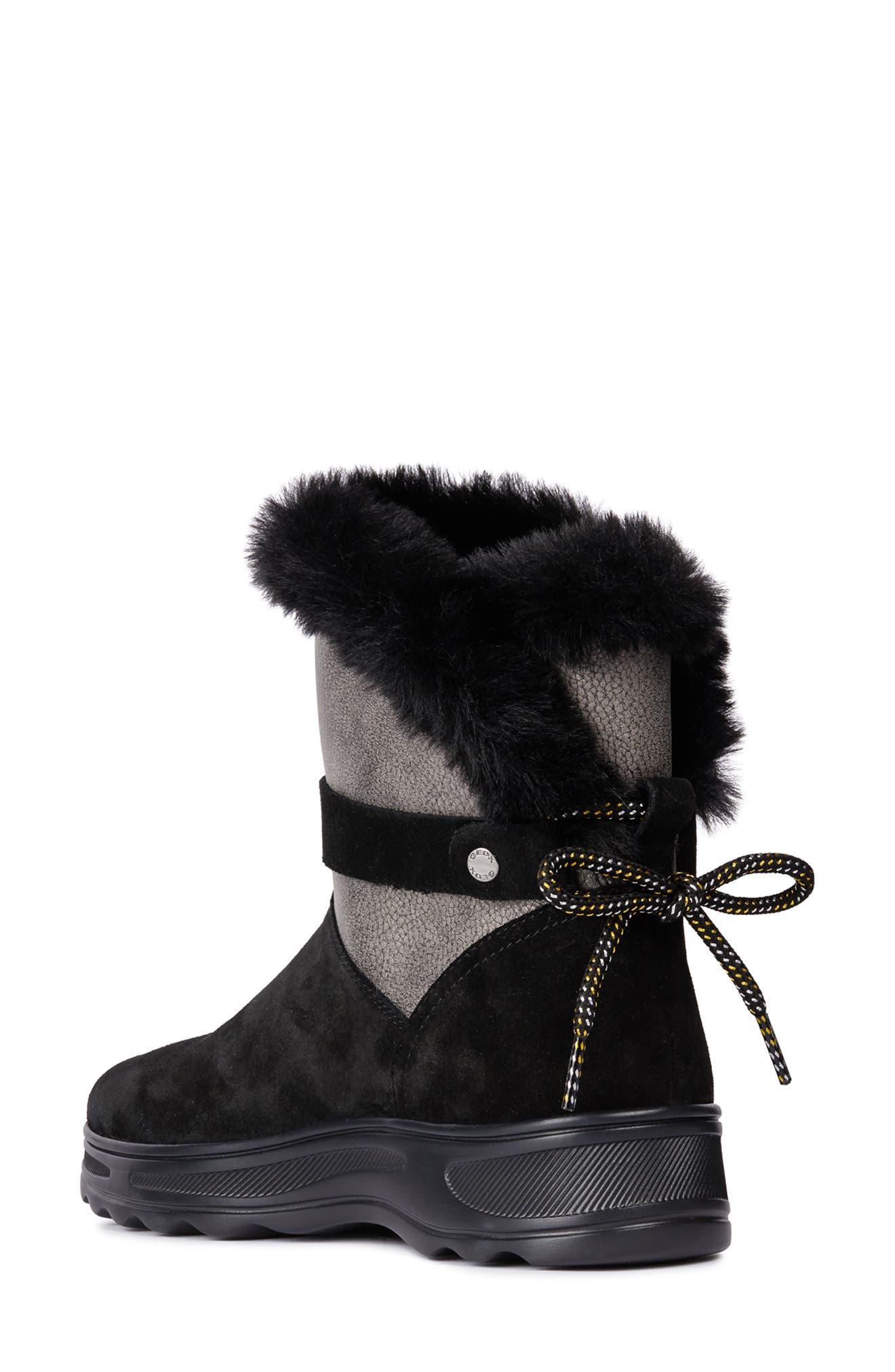 Hosmos ABX Waterproof Faux Fur Trim Boot,                             Alternate thumbnail 2, color,                             BLACK/ DARK GREY SUEDE