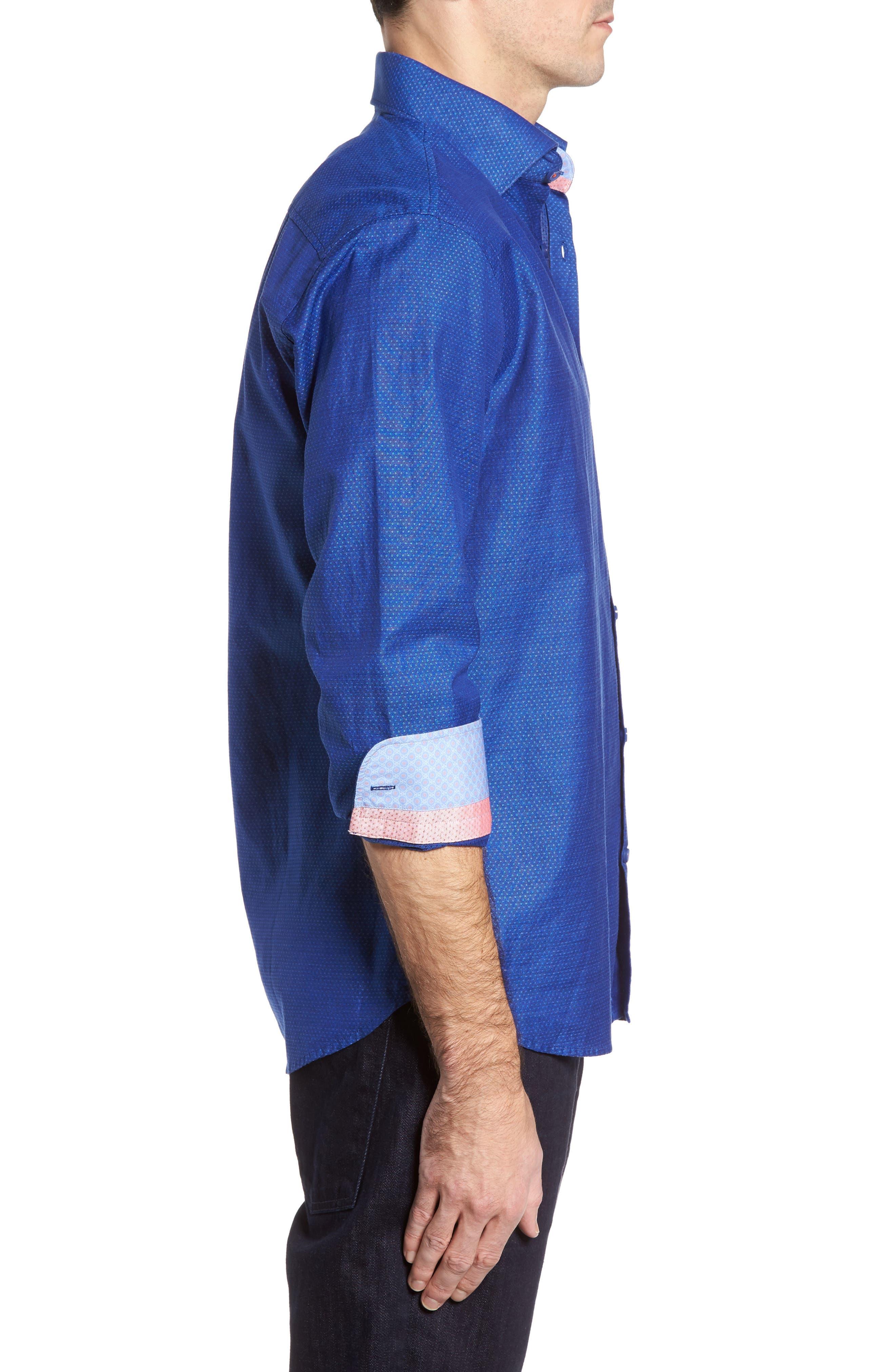 Dobby Cotton & Linen Sport Shirt,                             Alternate thumbnail 11, color,