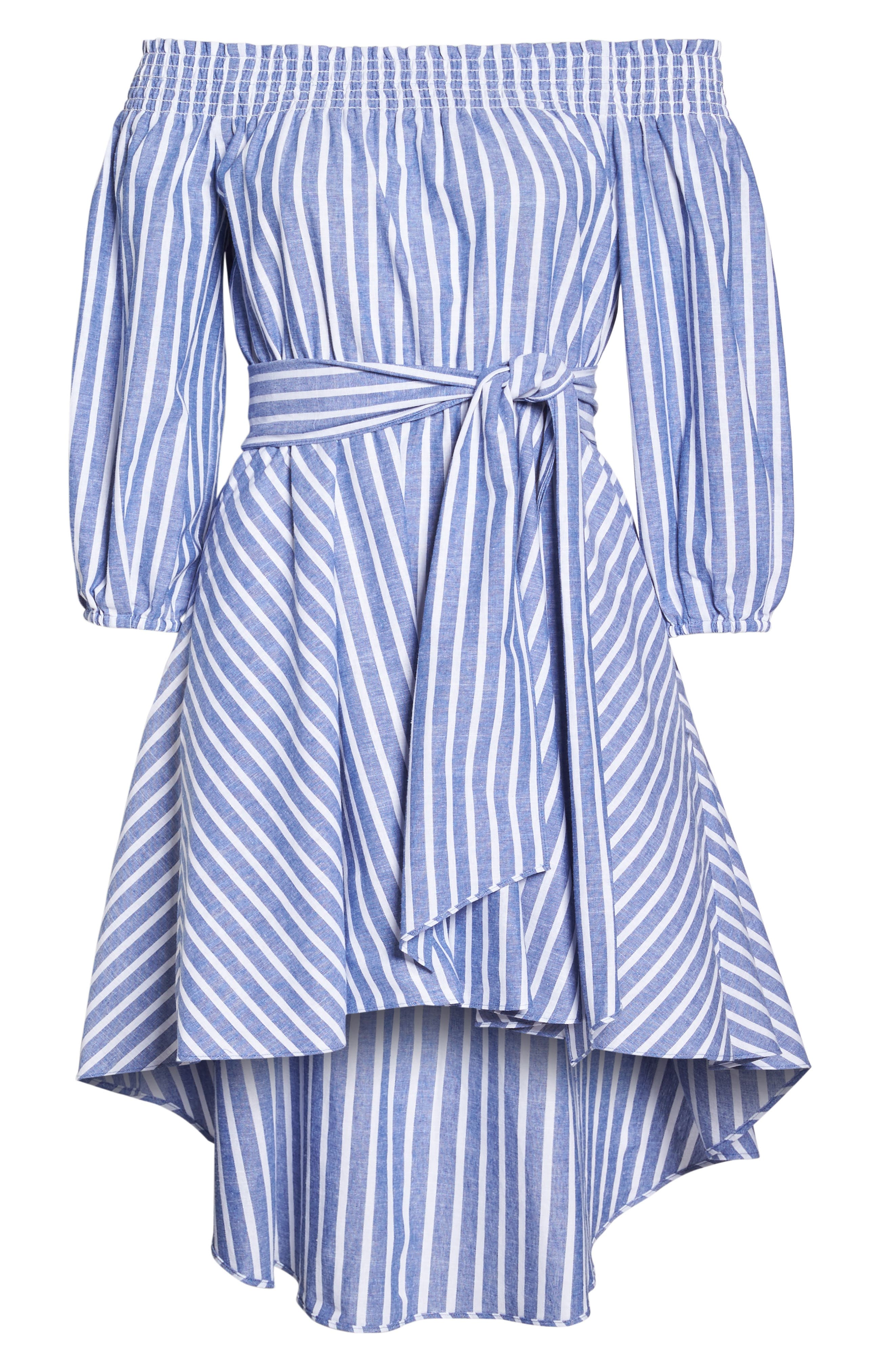 Off the Shoulder Tie Waist Dress,                             Alternate thumbnail 6, color,                             407