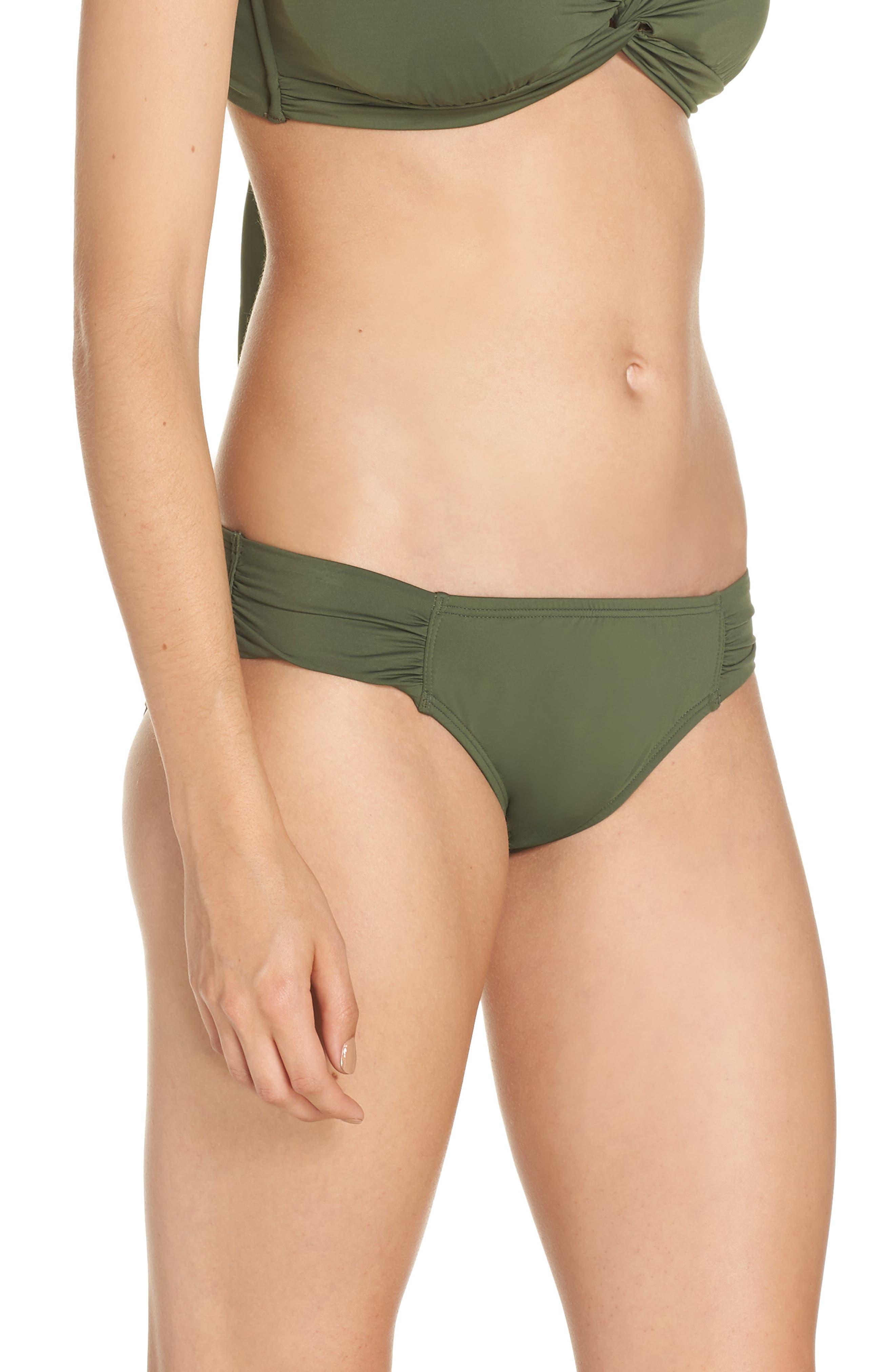 Side Shirred Hipster Bikini Bottoms,                             Alternate thumbnail 3, color,                             DARK TEA LEAF