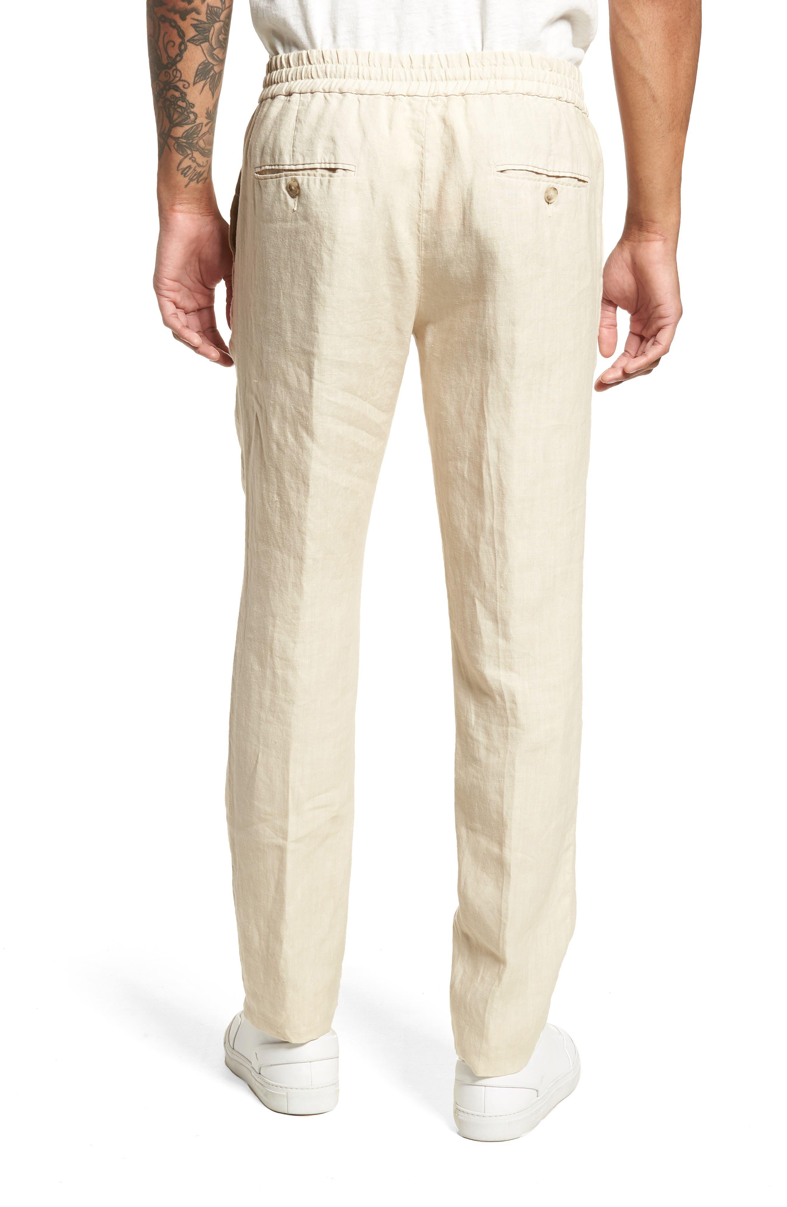 Pintuck Slim Fit Hemp Track Pants,                             Alternate thumbnail 2, color,                             WHITE SAND