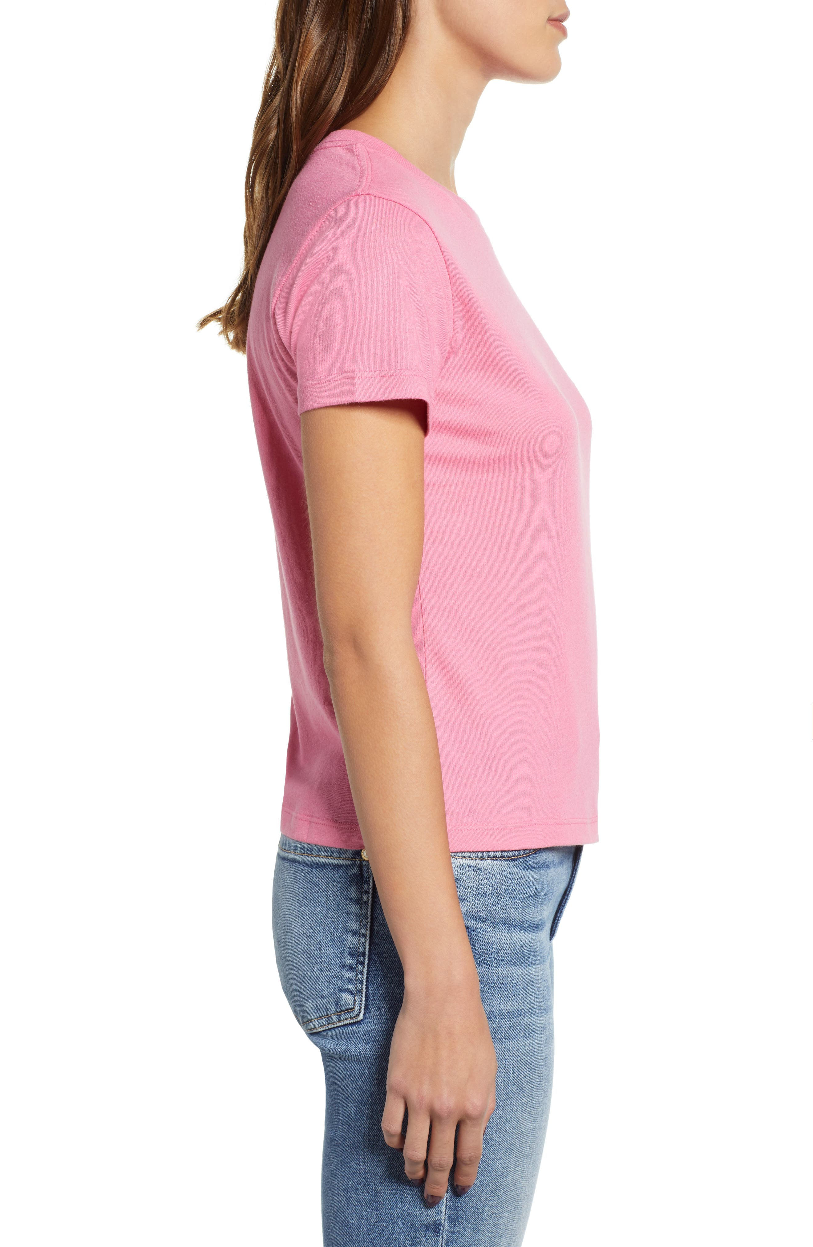 Embroidered Heart Tee,                             Alternate thumbnail 3, color,                             PINK