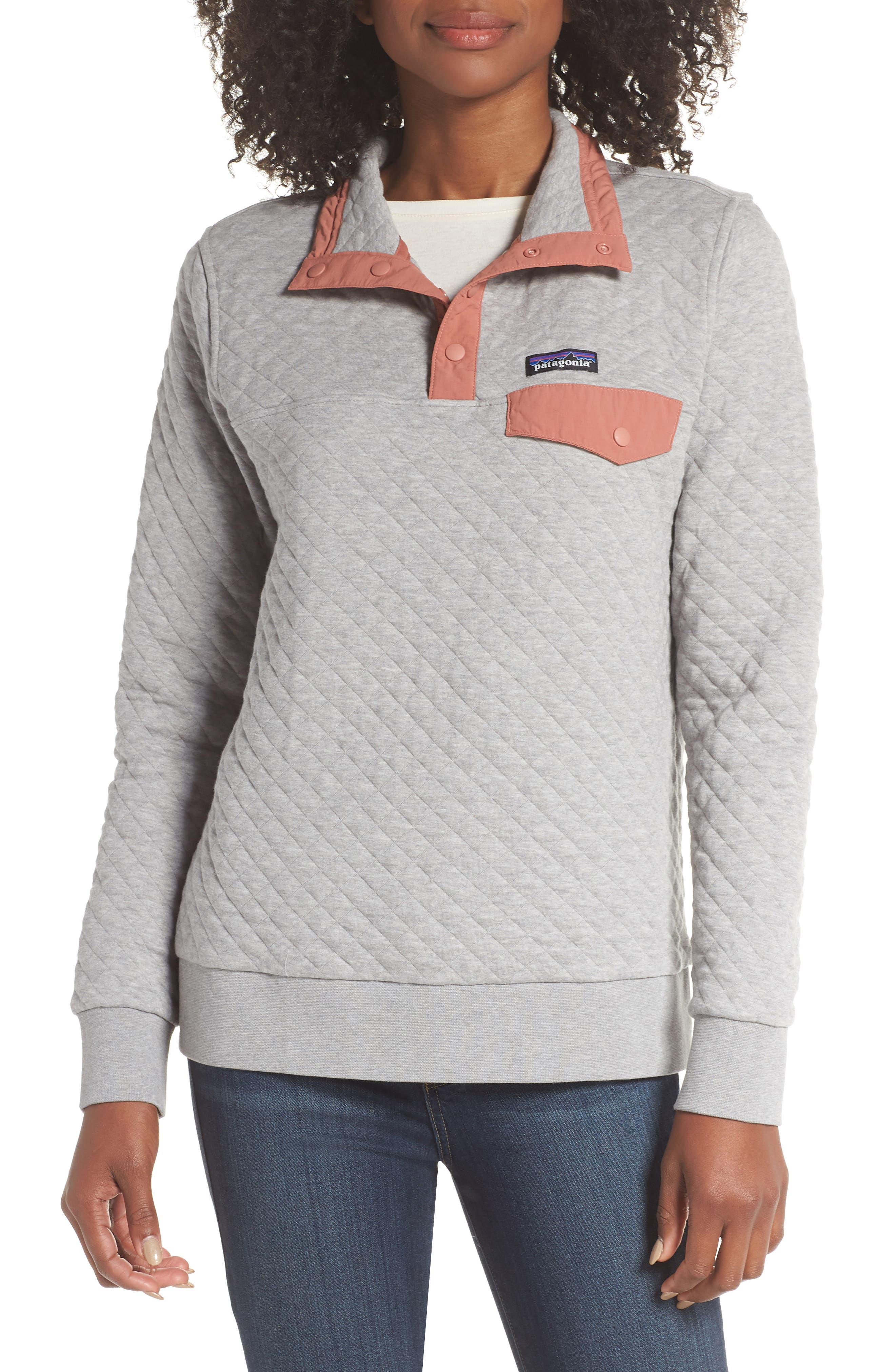 Snap-T<sup>®</sup> Quilted Pullover,                         Main,                         color, DRIFT GREY
