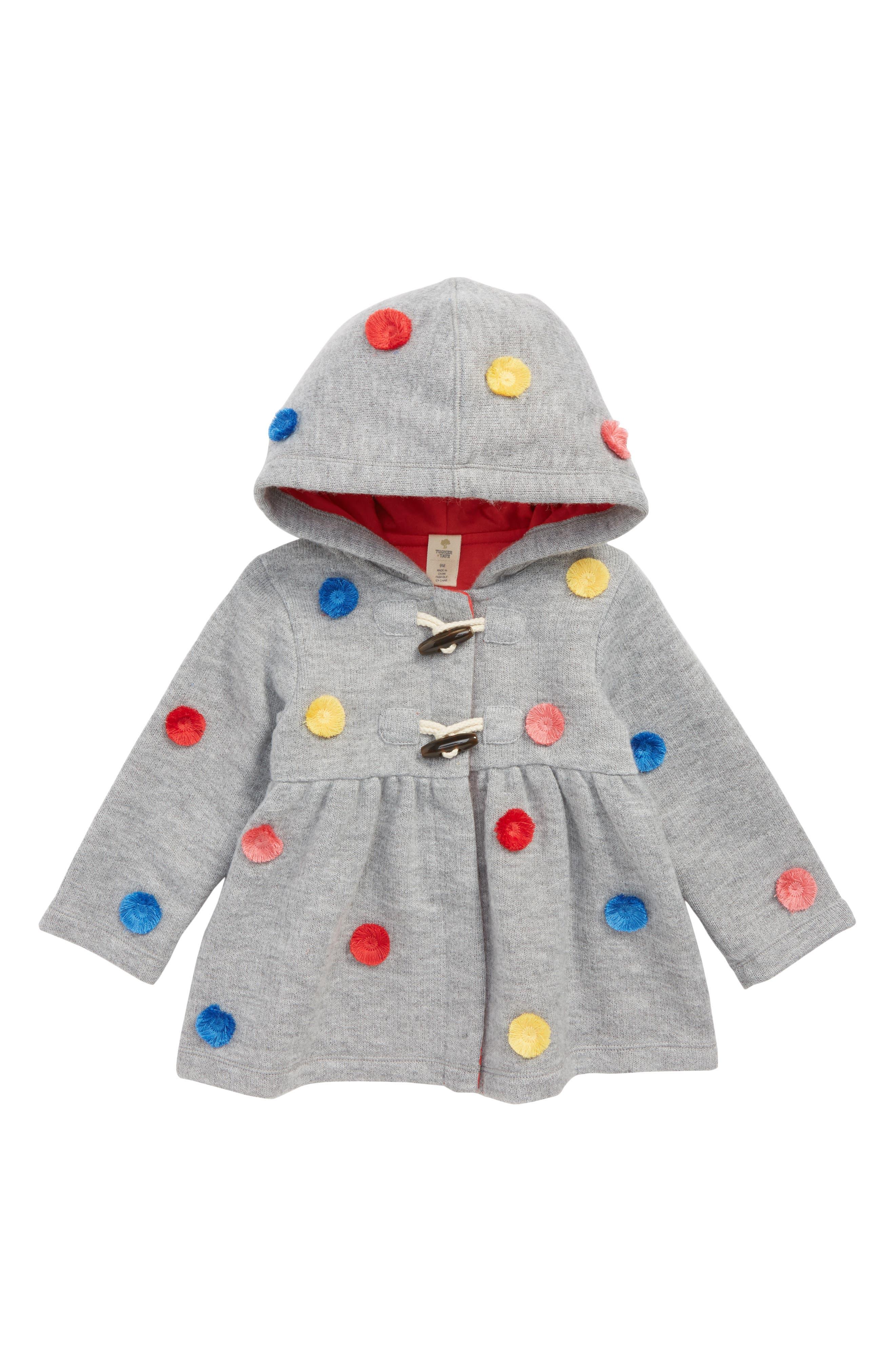 Pompom Hooded Knit Jacket,                             Main thumbnail 1, color,                             GREY ASH HEATHER