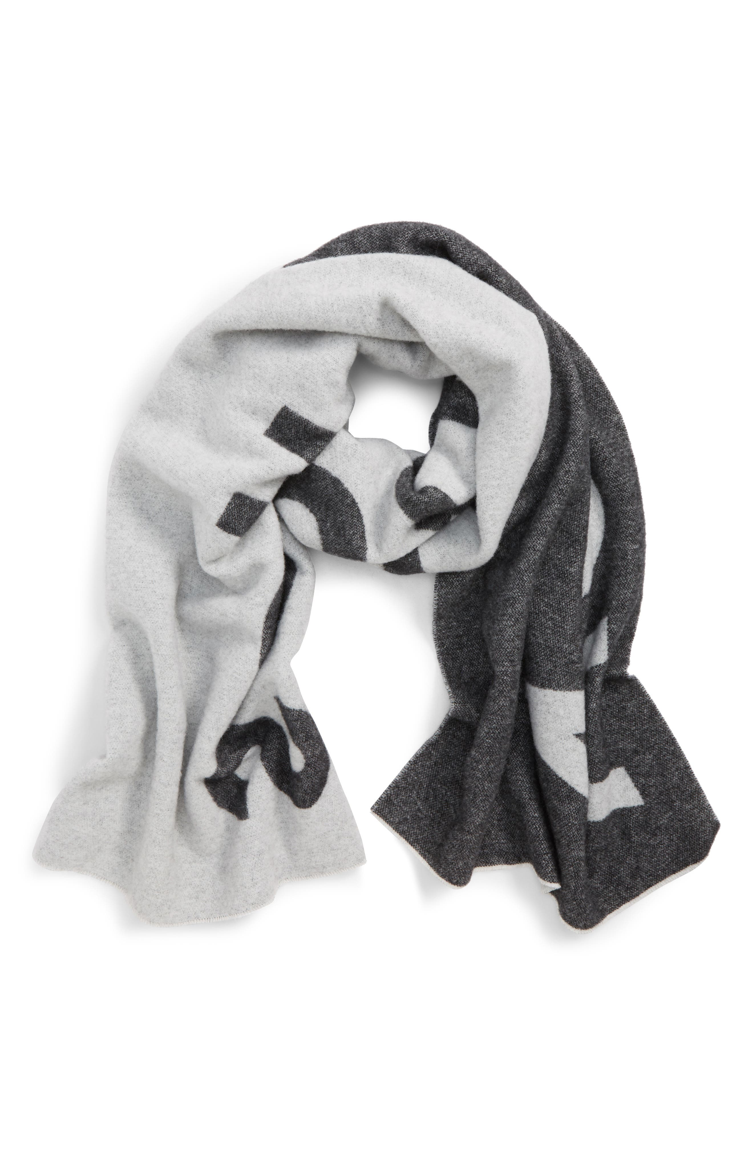 Logo Wool Scarf,                         Main,                         color, BLACK