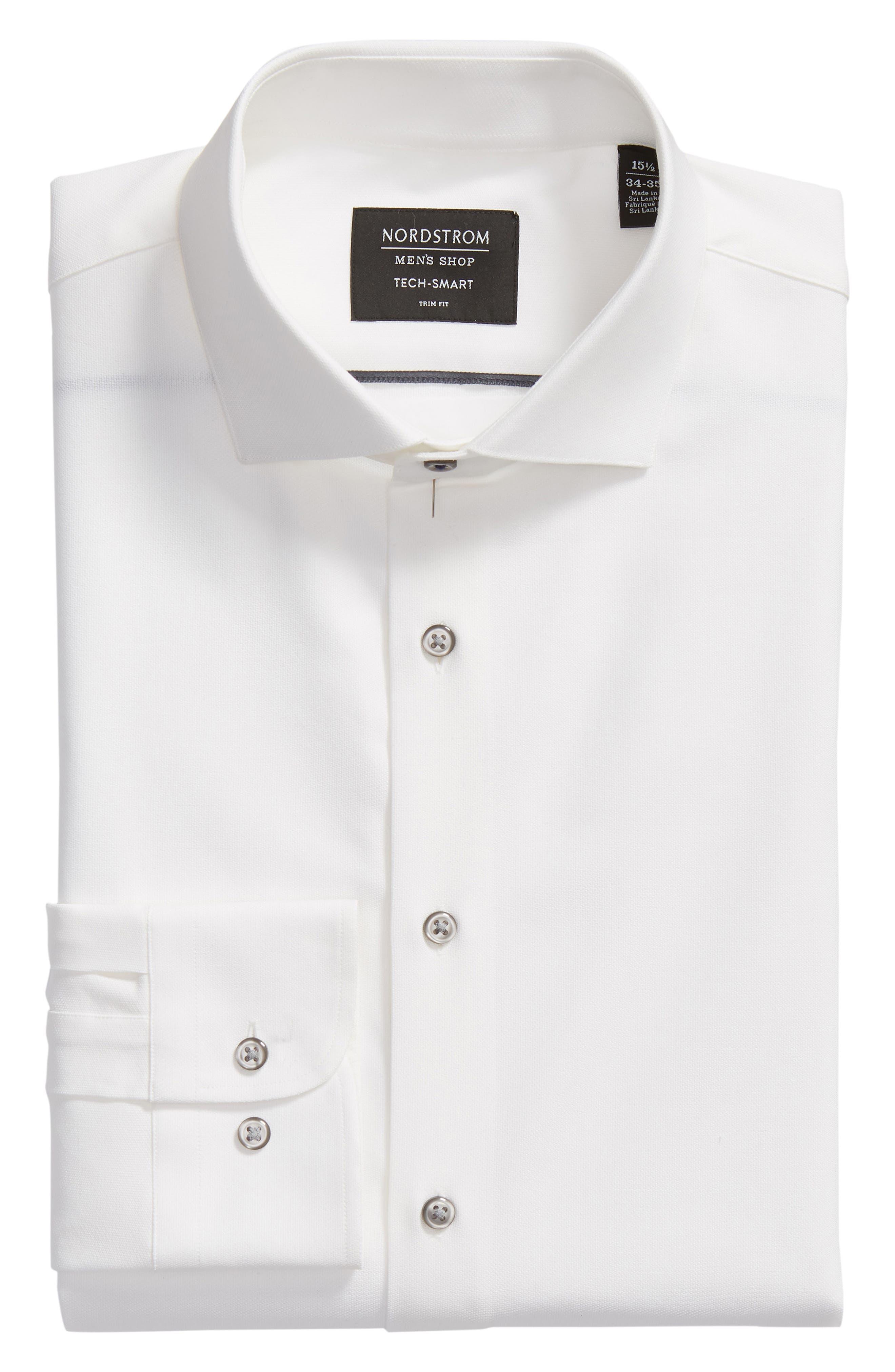 Tech-Smart Trim Fit Stretch Texture Dress Shirt,                             Alternate thumbnail 5, color,                             WHITE