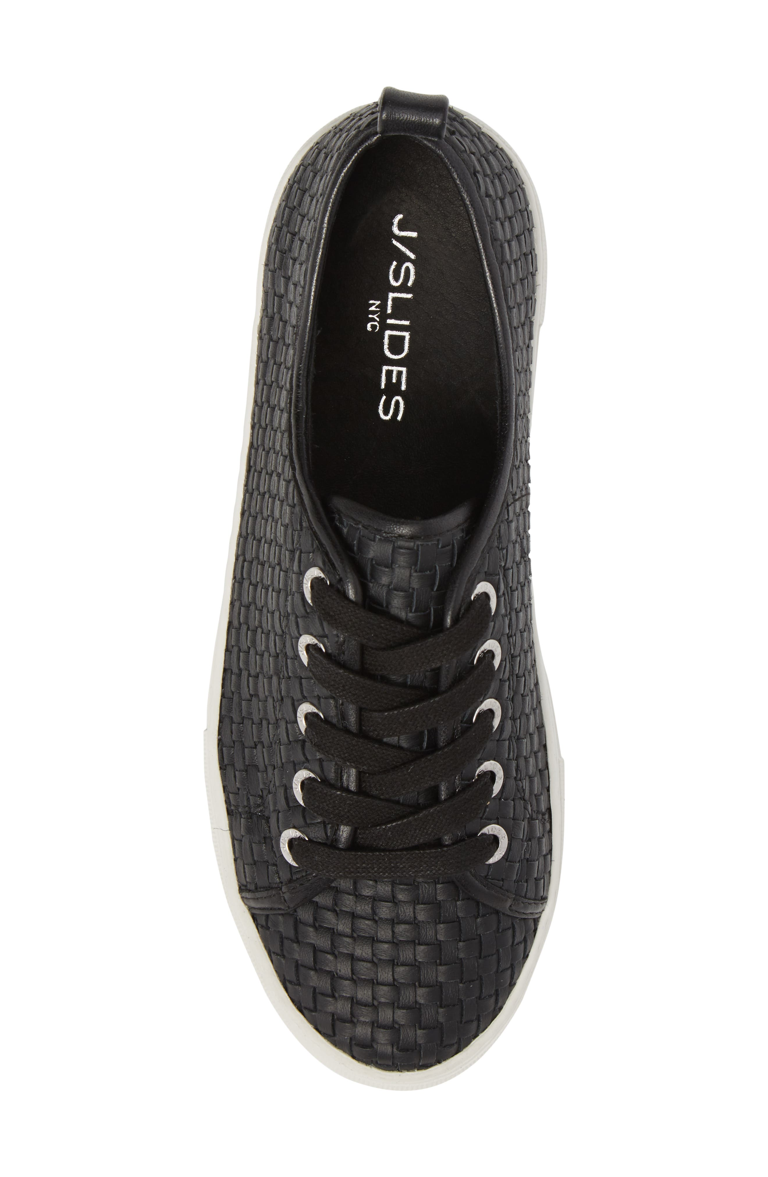 Artsy Woven Platform Sneaker,                             Alternate thumbnail 5, color,                             BLACK LEATHER