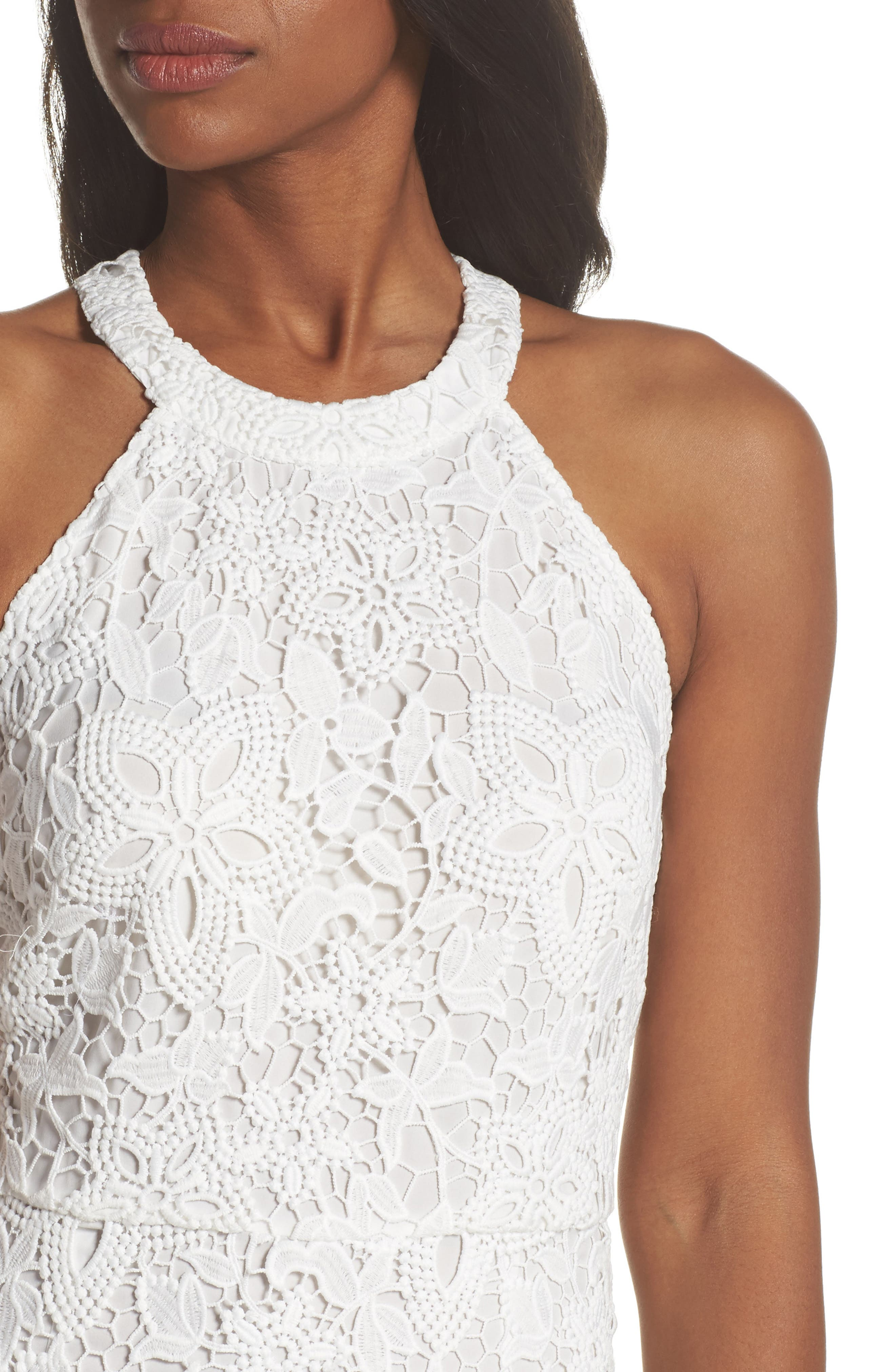 Isla Lace Halter Dress,                             Alternate thumbnail 4, color,                             100