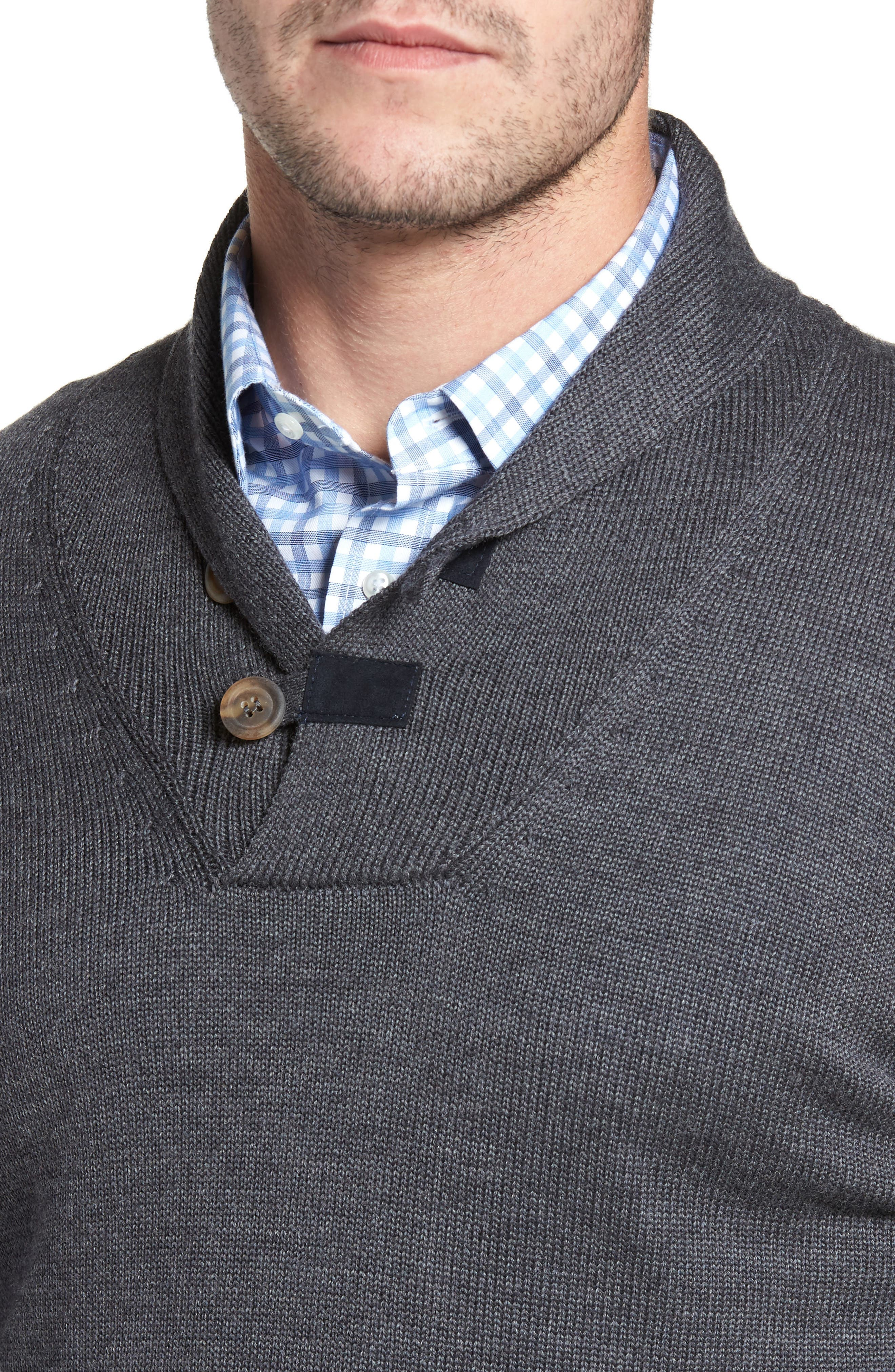 Merino Wool Shawl Collar Pullover,                             Alternate thumbnail 4, color,                             010