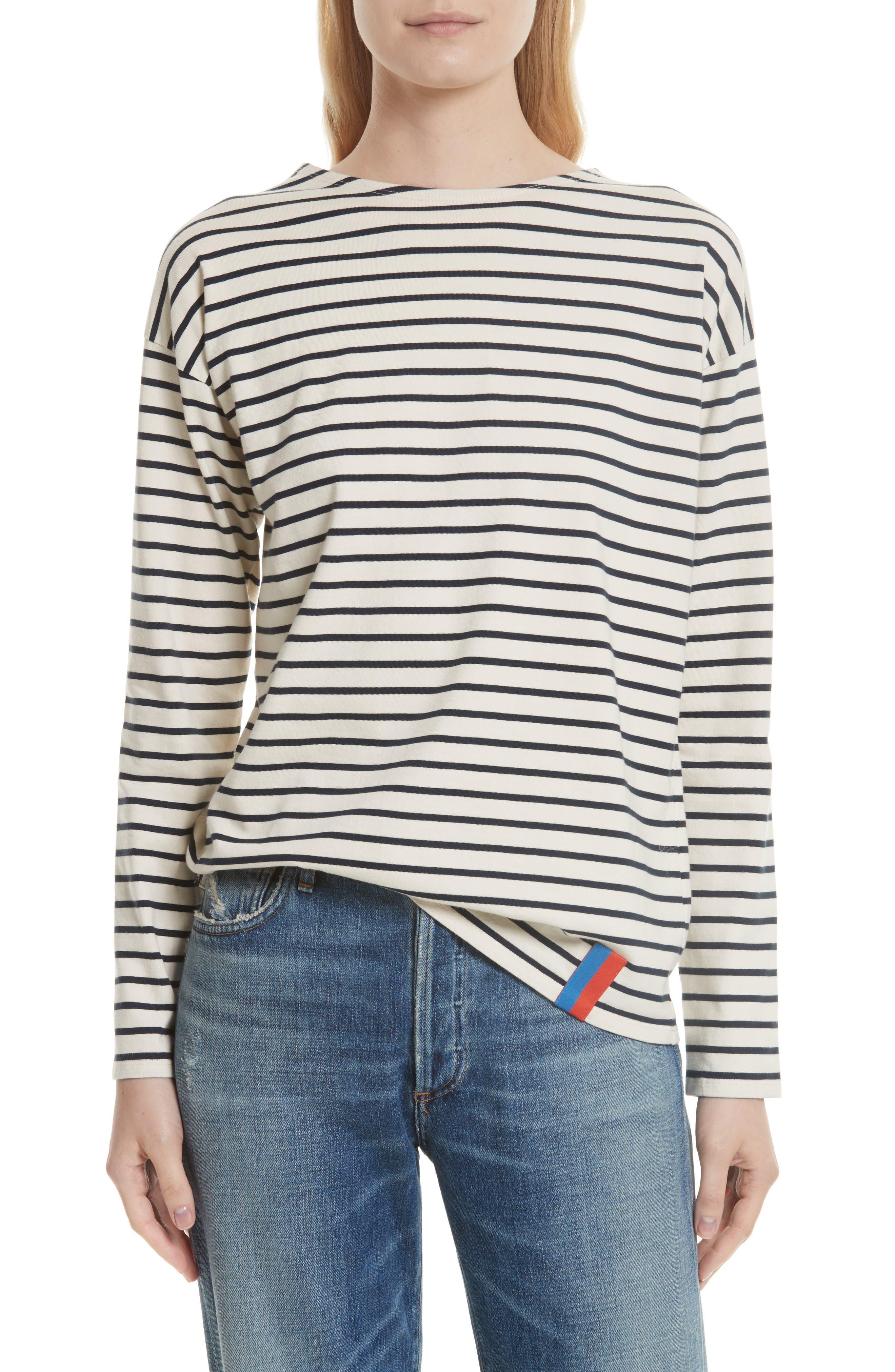 The Boyfriend Stripe Cotton Tee,                         Main,                         color, CREAM/ NAVY