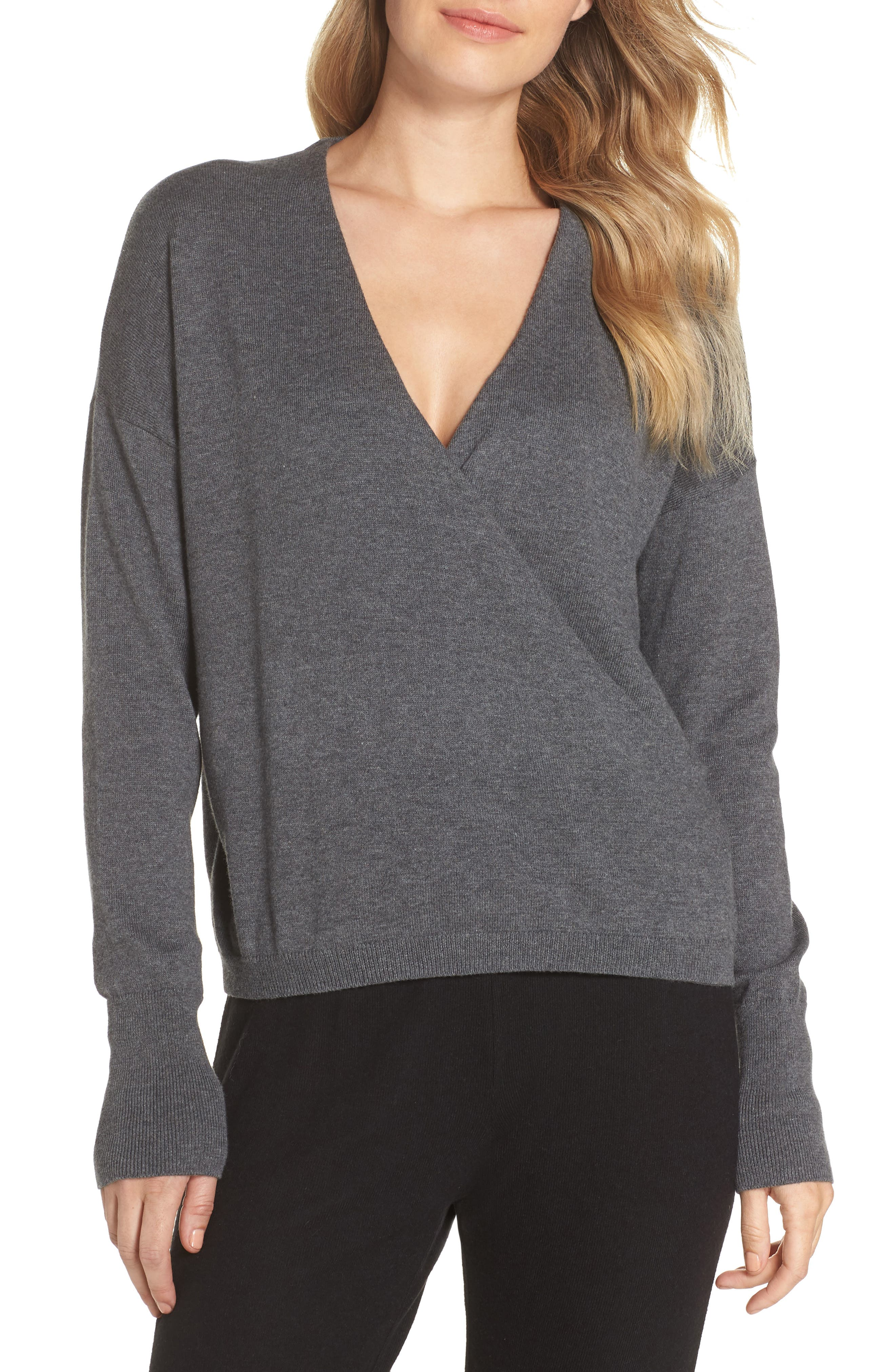 Surplice Front Sweater,                         Main,                         color, DARK STEEL HEATHER