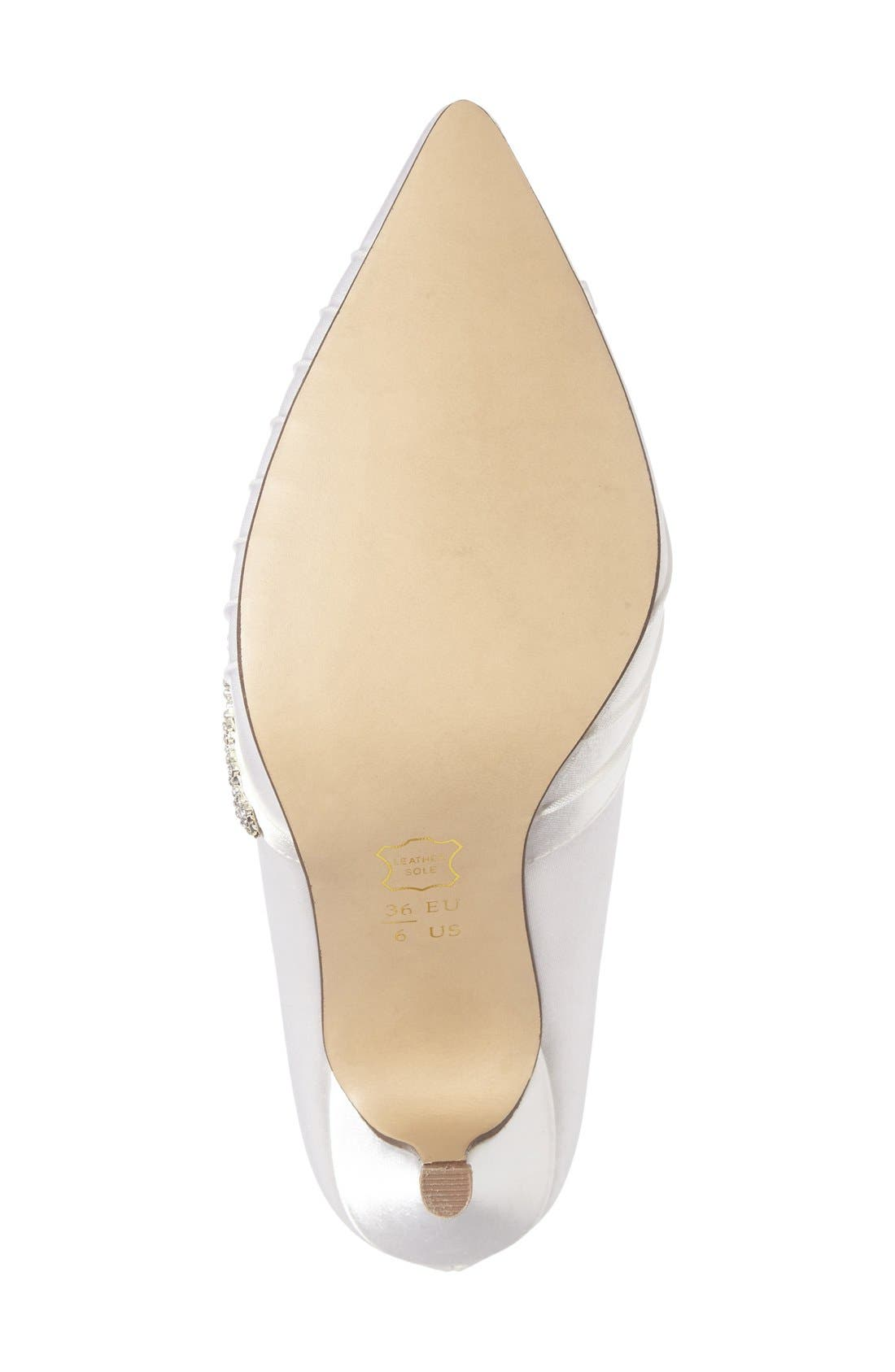 Union Crystal Embellished Pointy Toe Pump,                             Alternate thumbnail 4, color,                             100