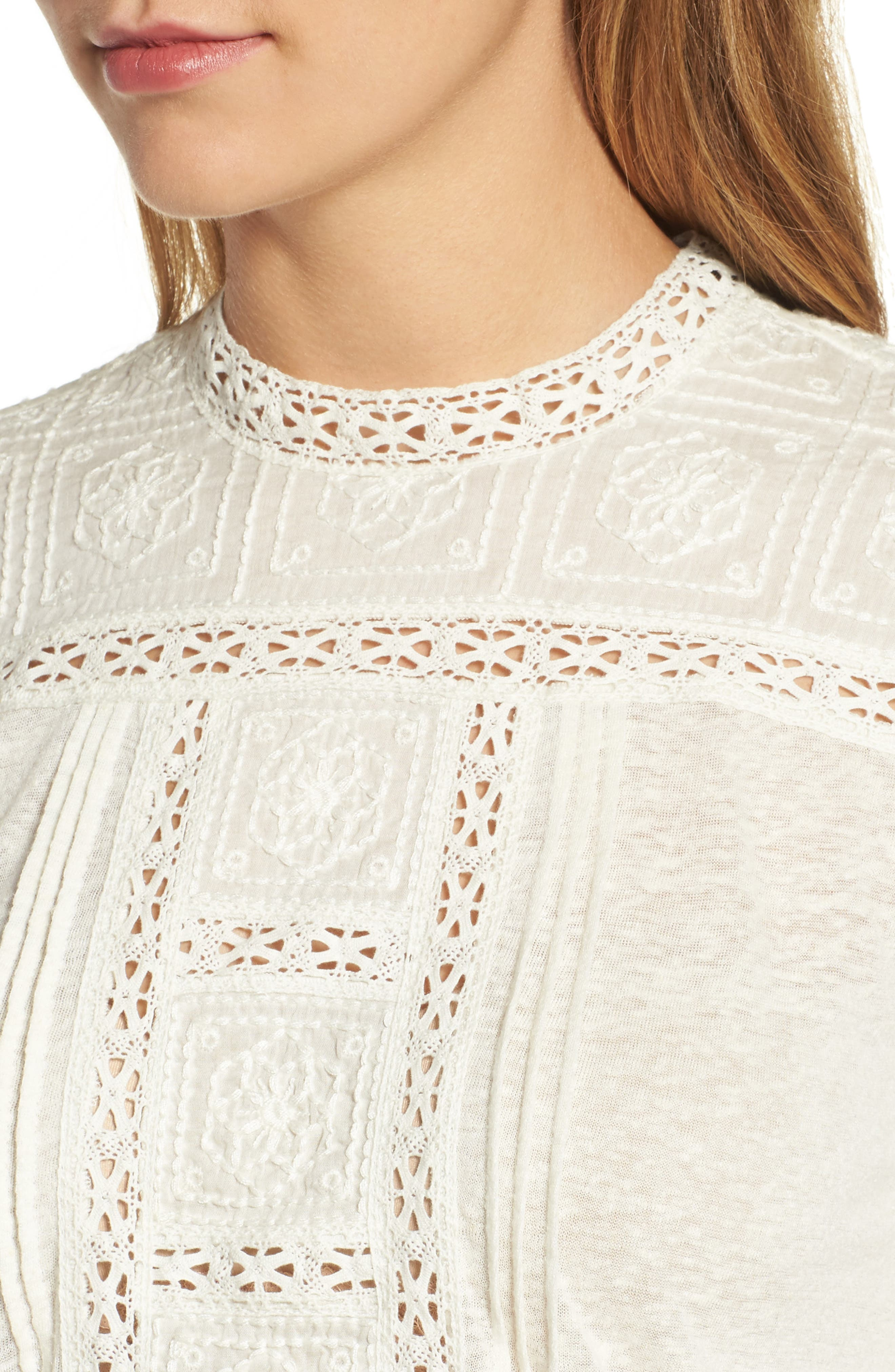 Embroidered Eyelet Trim Top,                             Alternate thumbnail 4, color,                             900