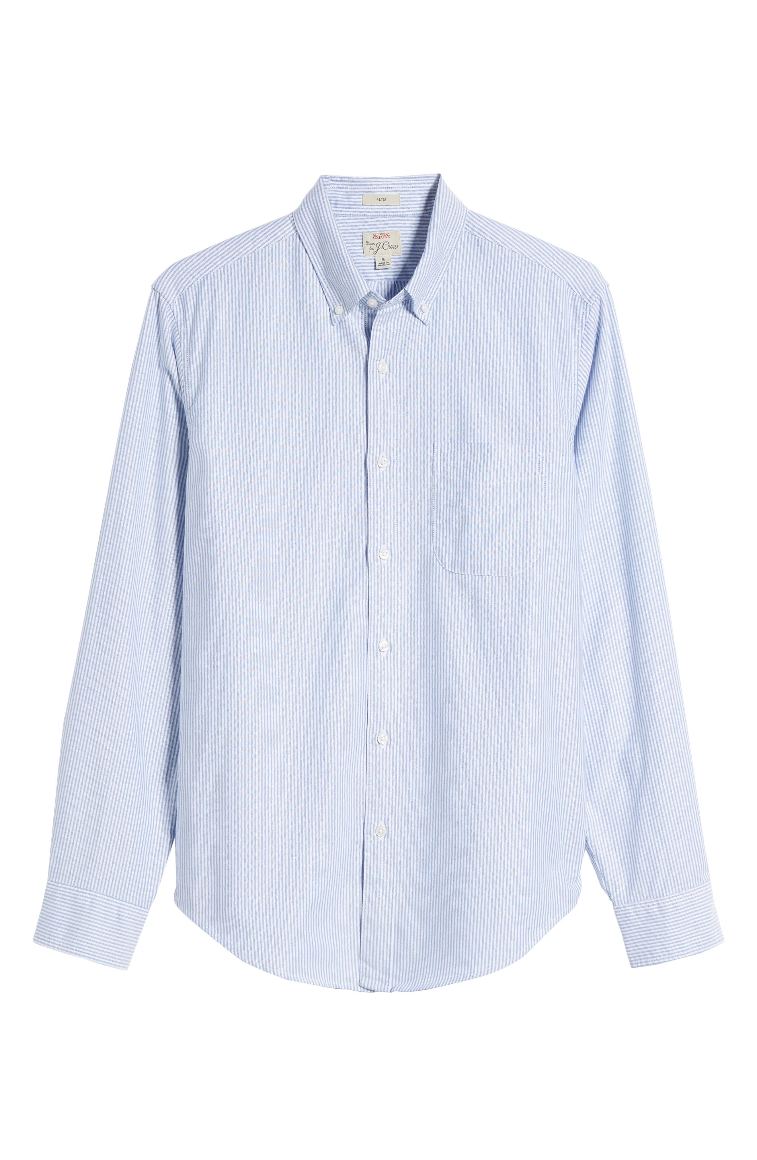 Slim Fit Stretch Stripe Pima Cotton Oxford Shirt,                             Alternate thumbnail 6, color,                             400