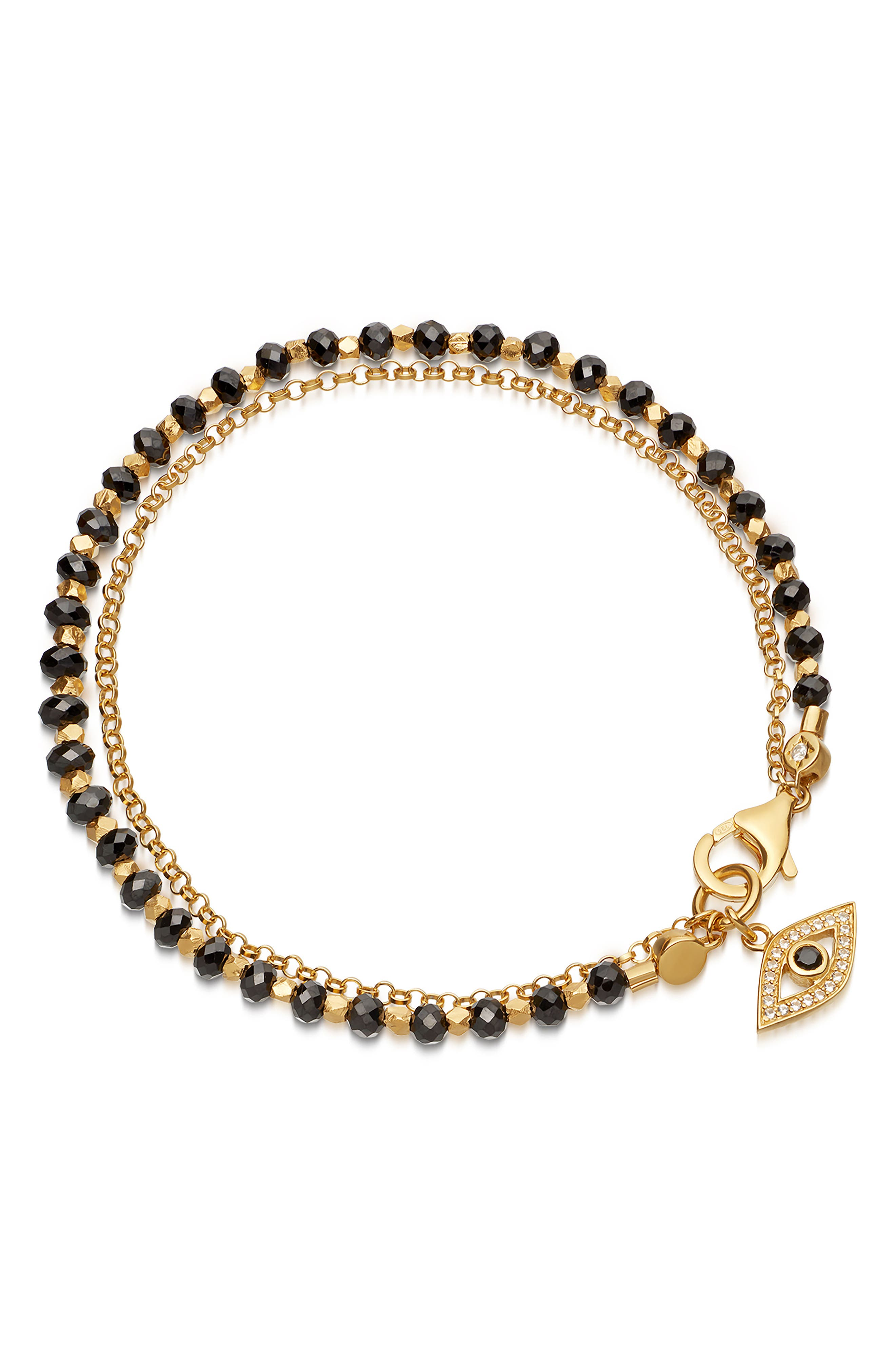 Evil Eye Biography Bracelet, Main, color, YELLOW GOLD/ BLACK SPINEL