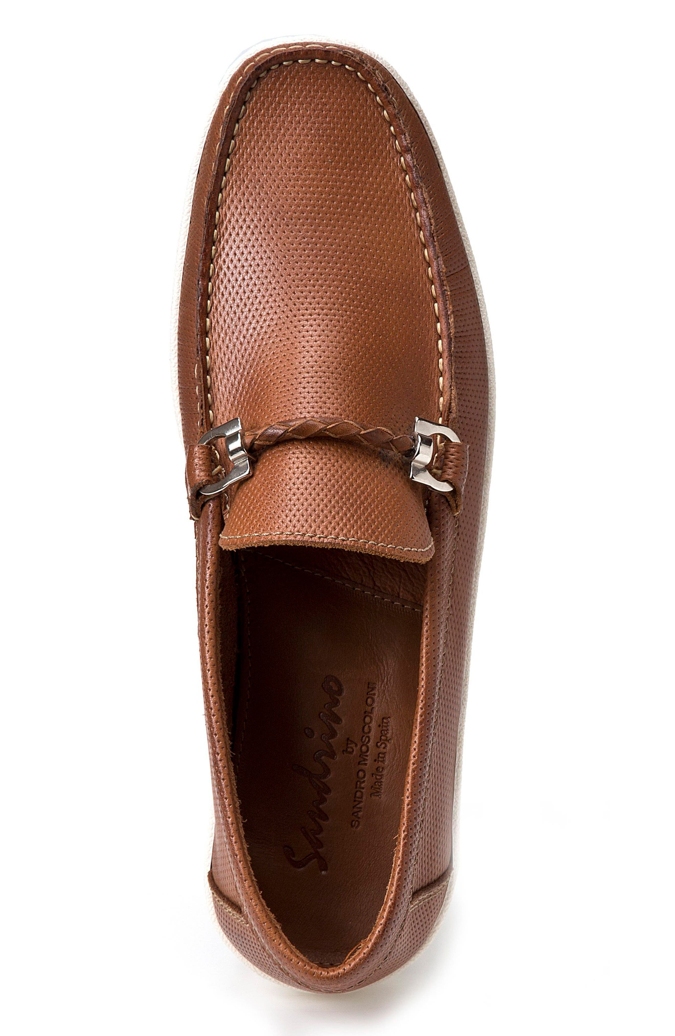 Benito Perforated Moc Toe Loafer,                             Alternate thumbnail 3, color,                             TAN LEATHER
