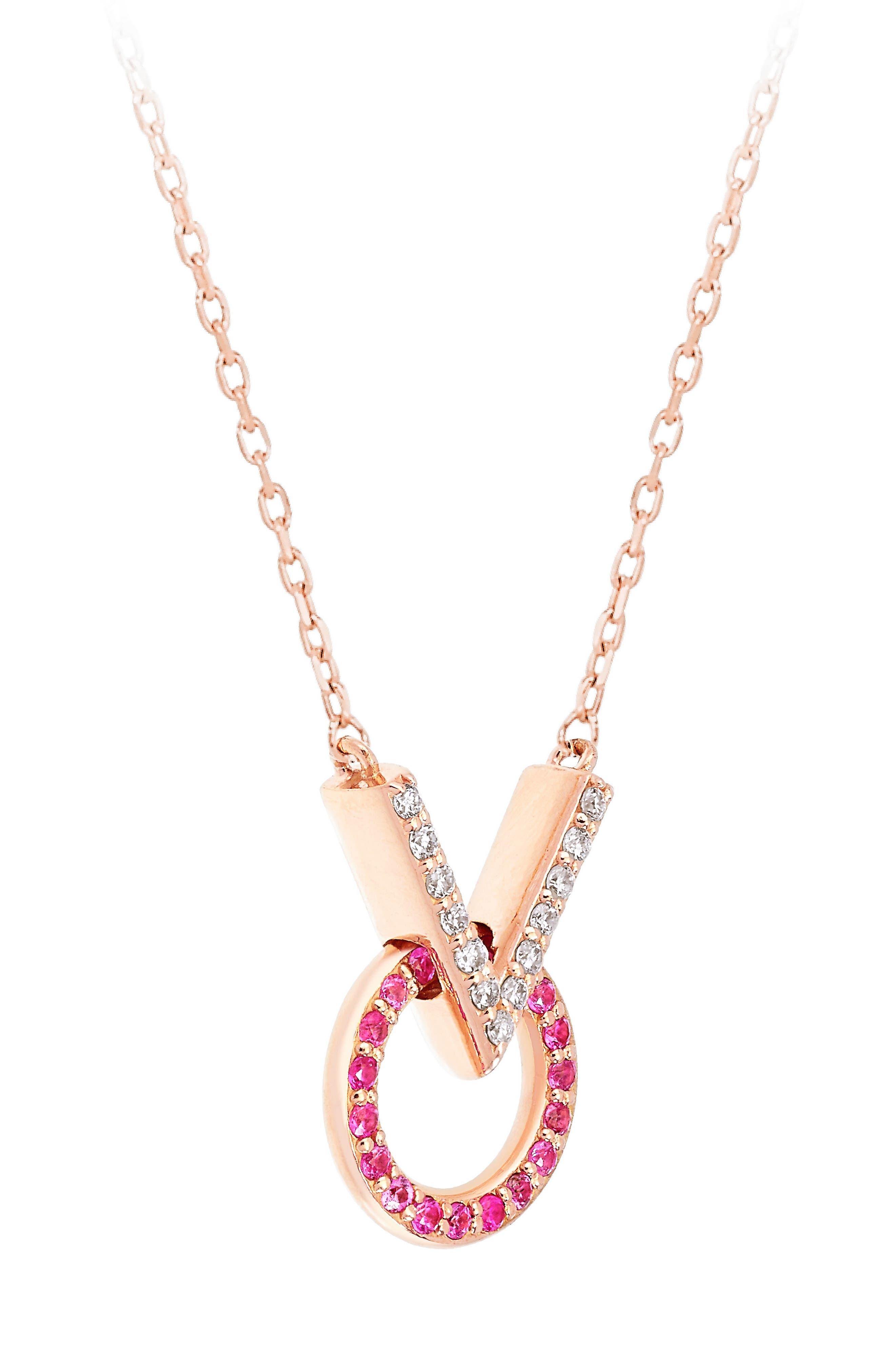 Baby Memphis V Round Diamond & Pink Sapphire Necklace,                             Alternate thumbnail 2, color,                             710