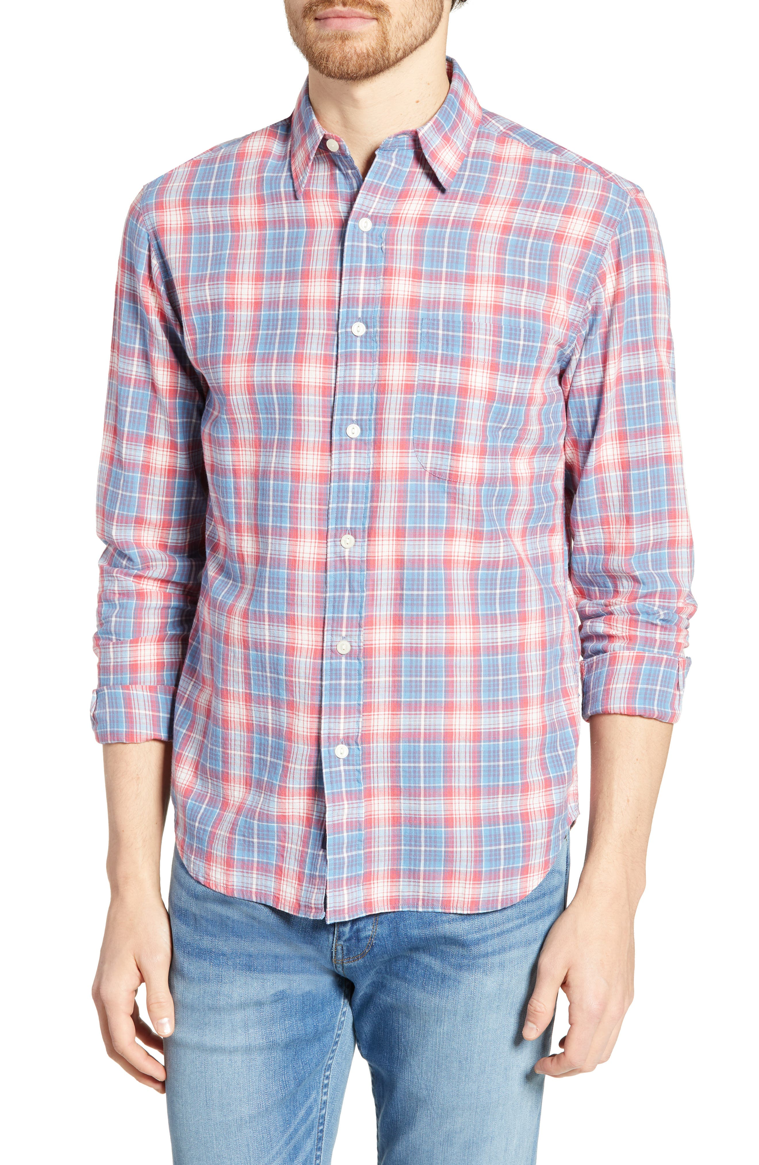 Faherty Everyday Regular Fit Plaid Sport Shirt, Red