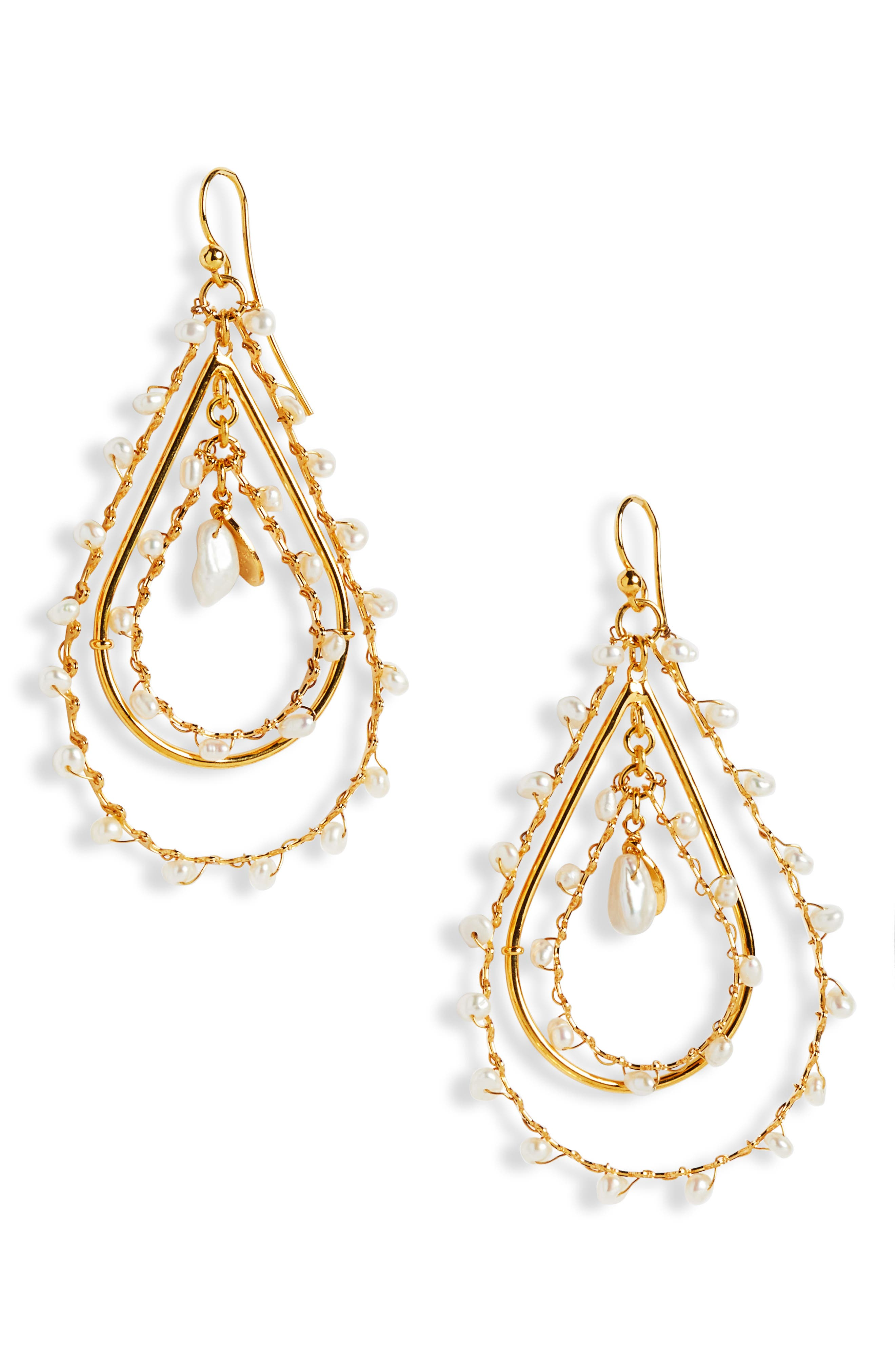 GAS BIJOUX Large Mother-Of-Pearl Pear Drop Earrings in Gold