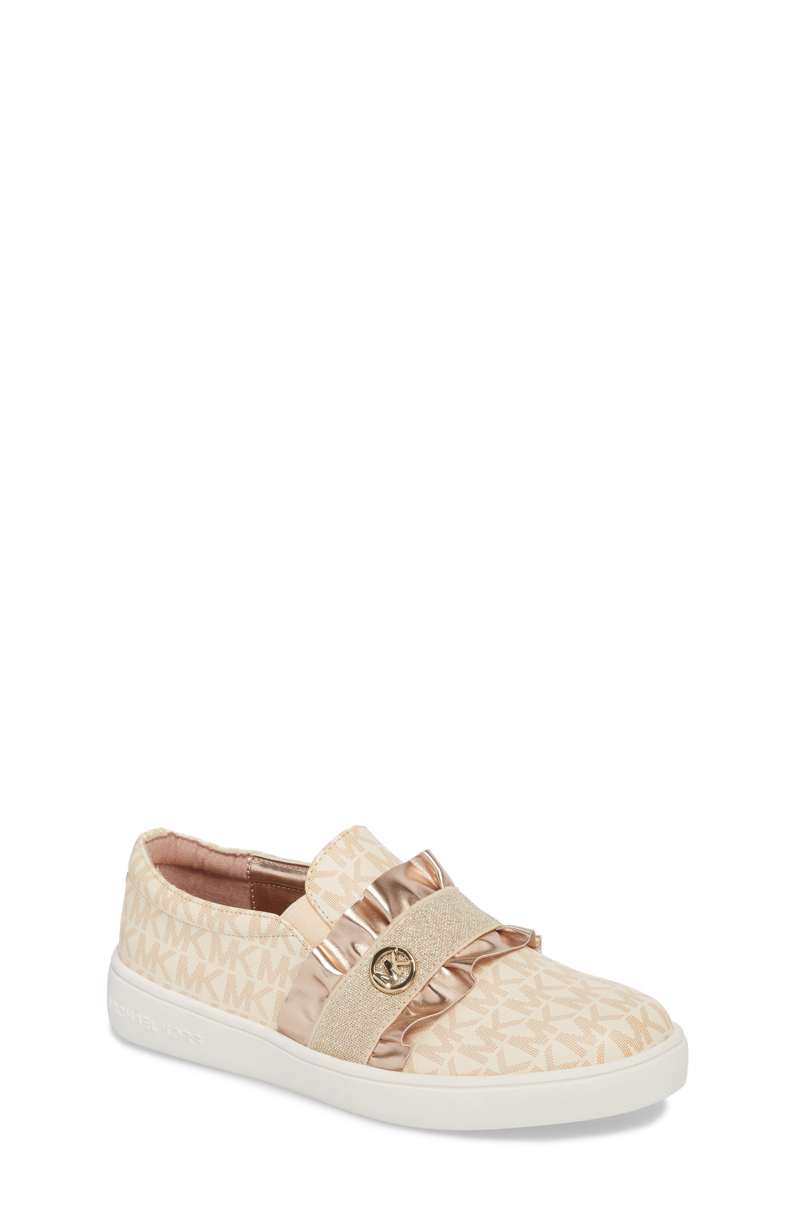 Ivy Riff Ruffle Sneaker,                         Main,                         color, ROSE GOLD