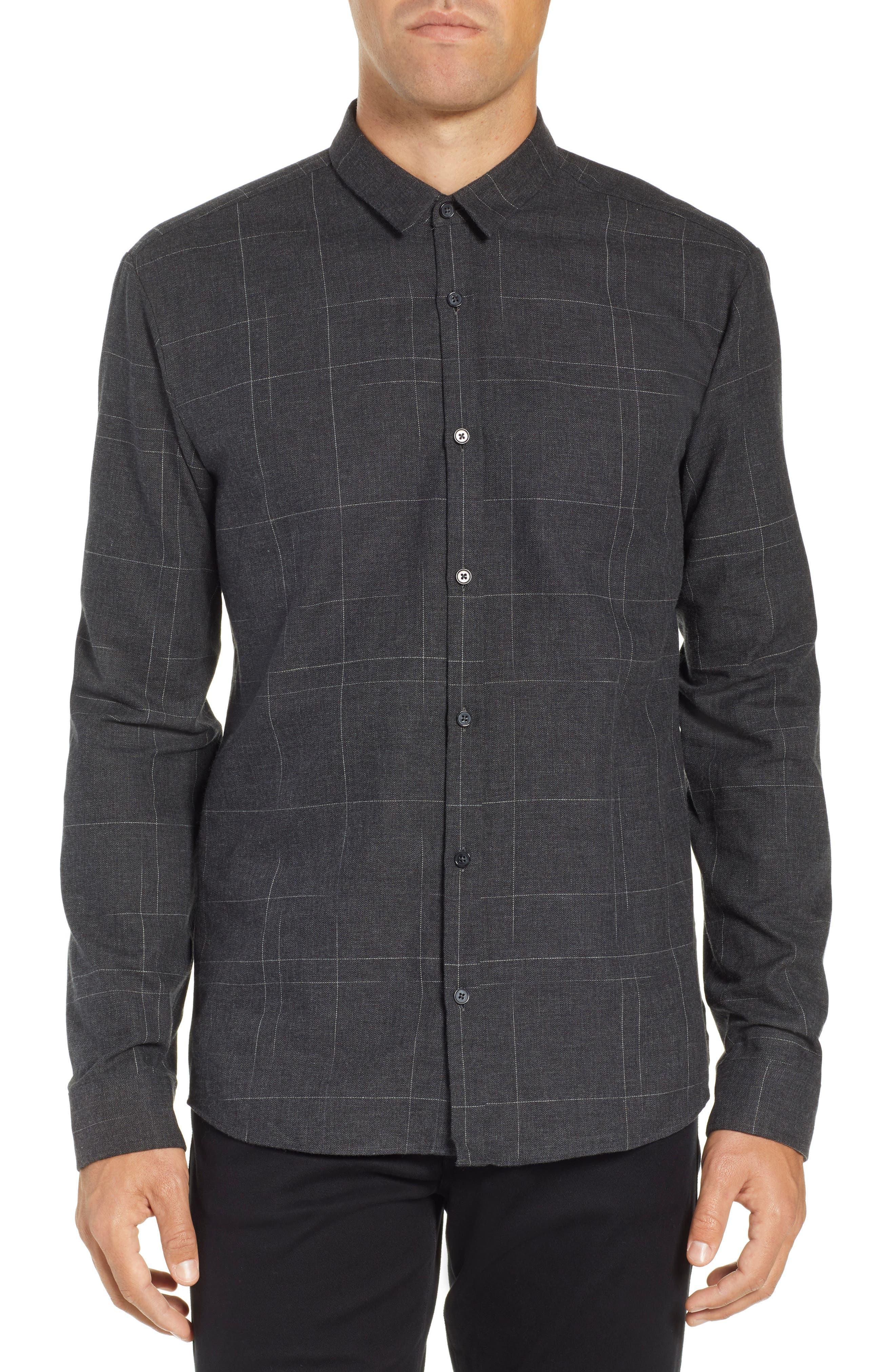Ero Extra Slim Flannel Shirt,                         Main,                         color, GREY