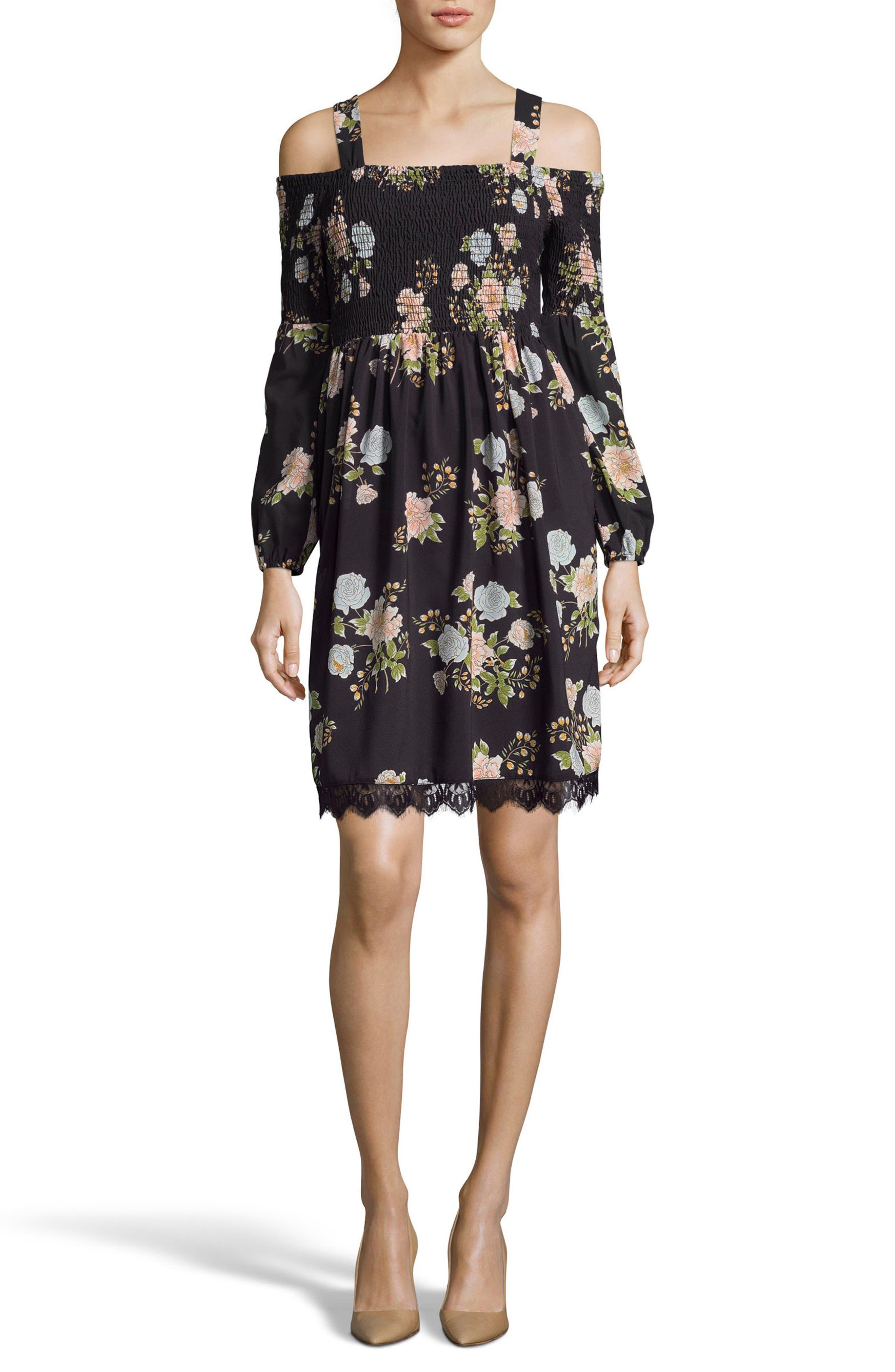 Smocked Cold Shoulder Shift Dress,                         Main,                         color,