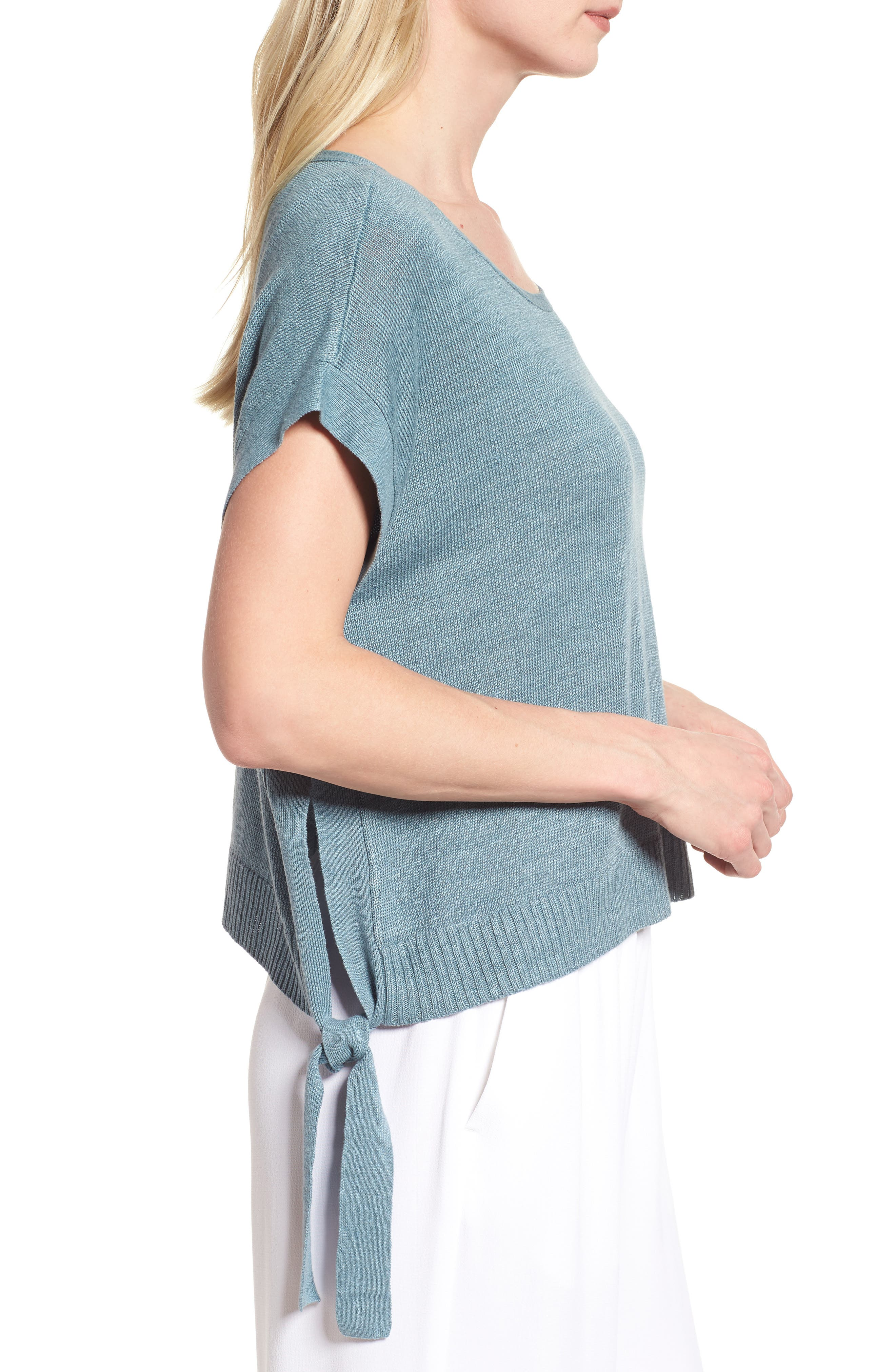 Short Organic Linen Poncho Top,                             Alternate thumbnail 15, color,