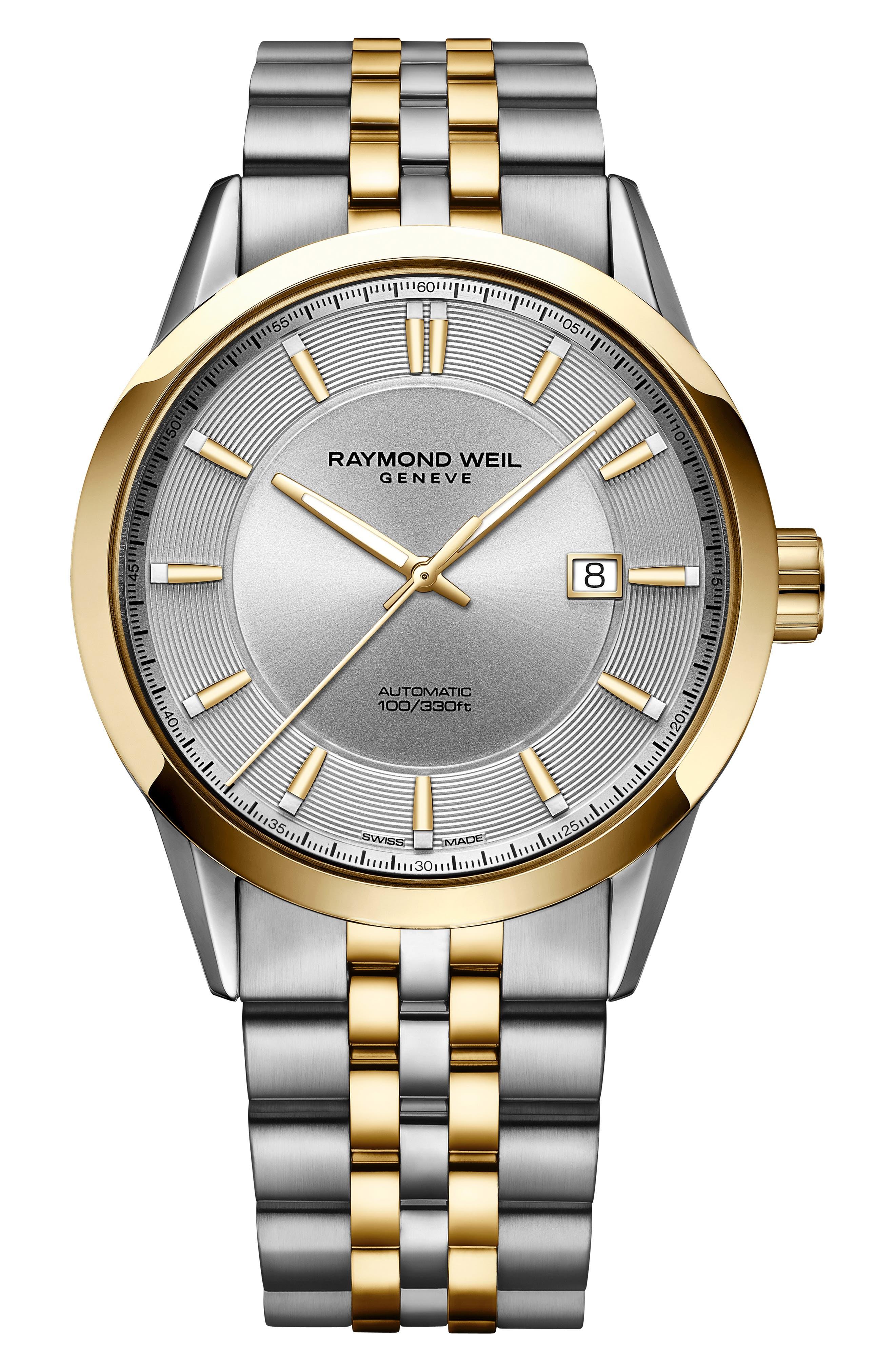 Freelancer Automatic Bracelet Watch, 43mm,                             Main thumbnail 1, color,                             SILVER/ GOLD