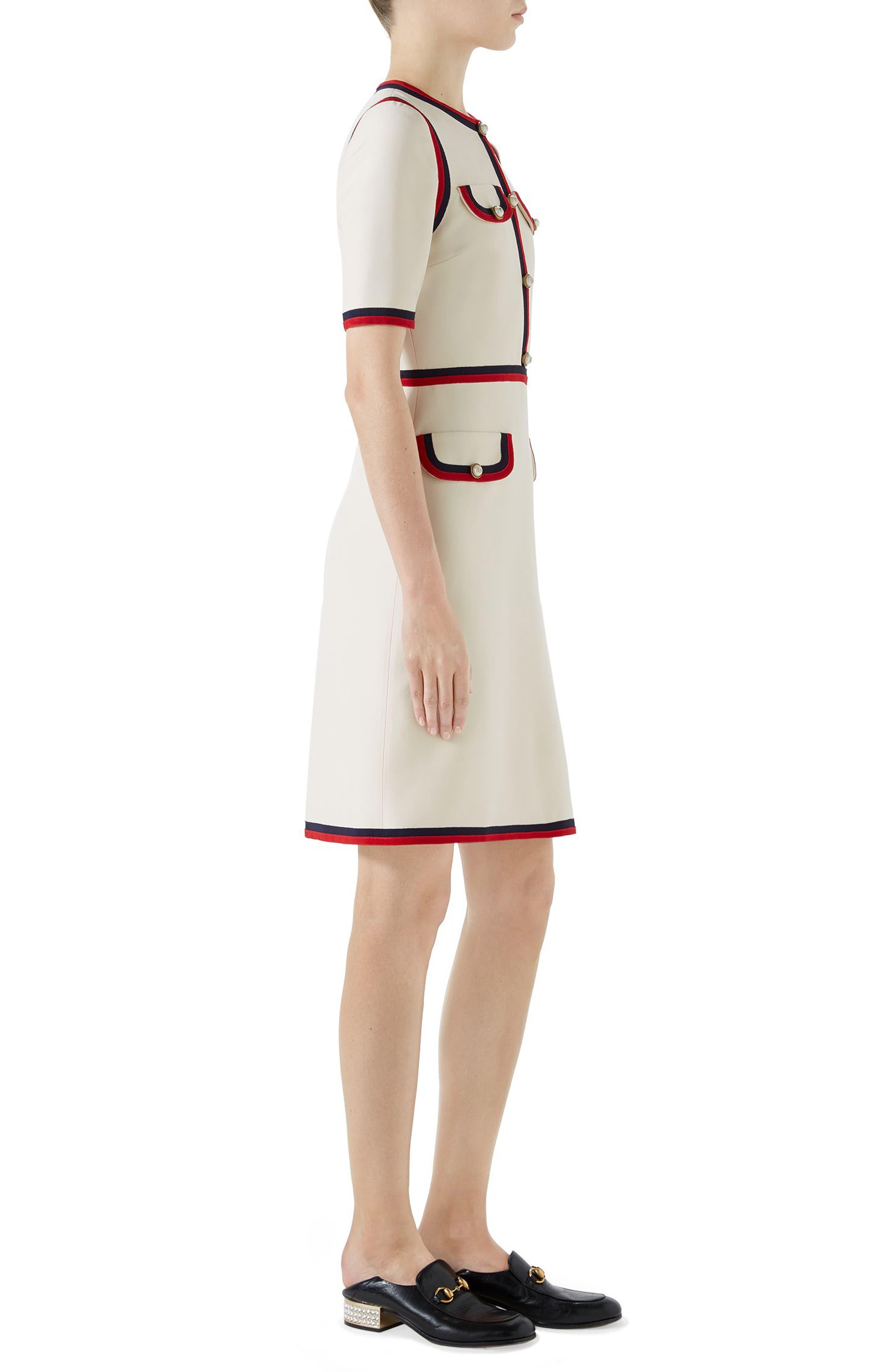 Ribbon Trim Wool & Silk Crepe A-Line Dress,                             Alternate thumbnail 3, color,                             GARDENIA