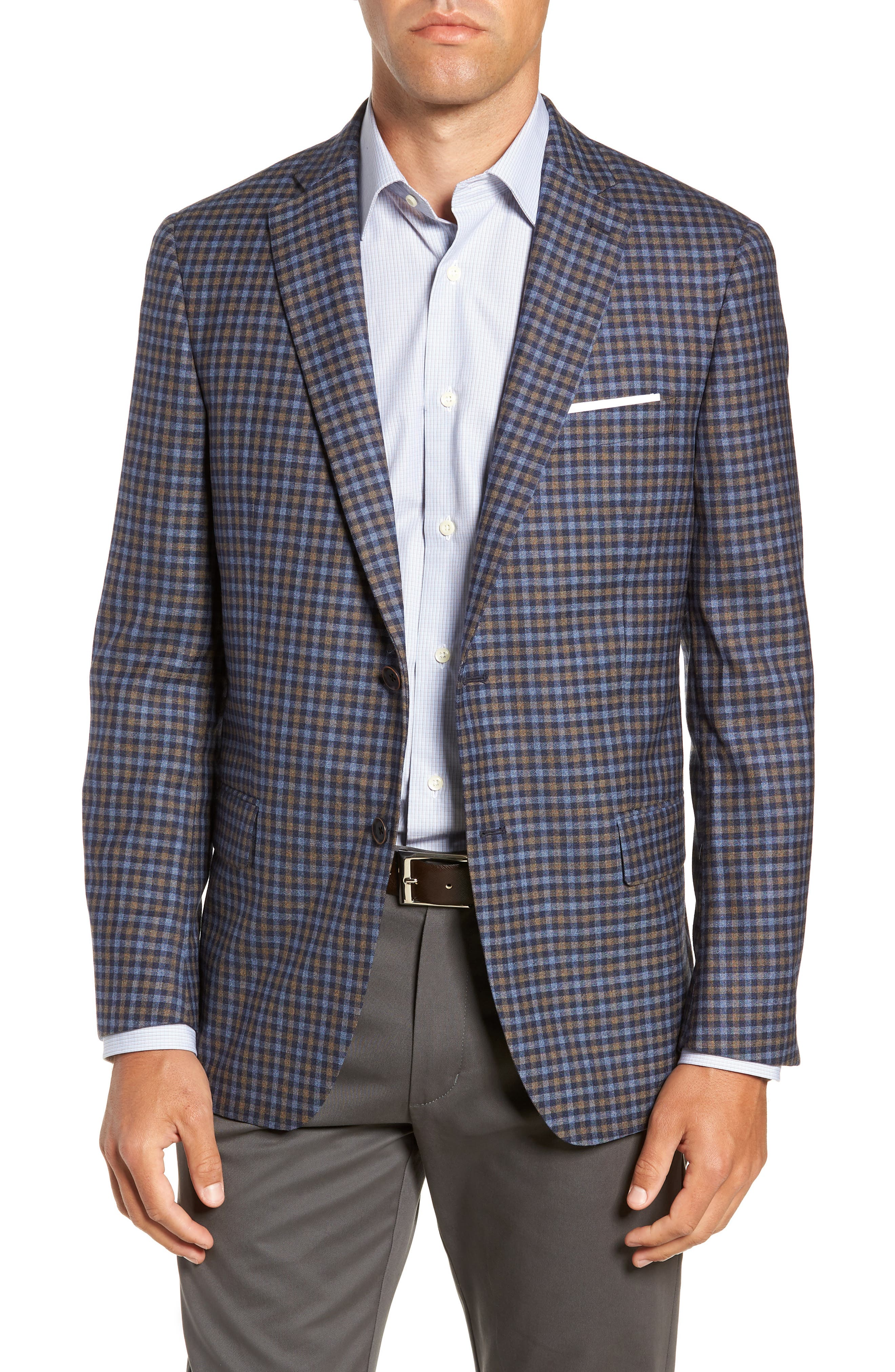 Classic Fit Check Wool Sport Coat,                             Main thumbnail 1, color,                             BLUE