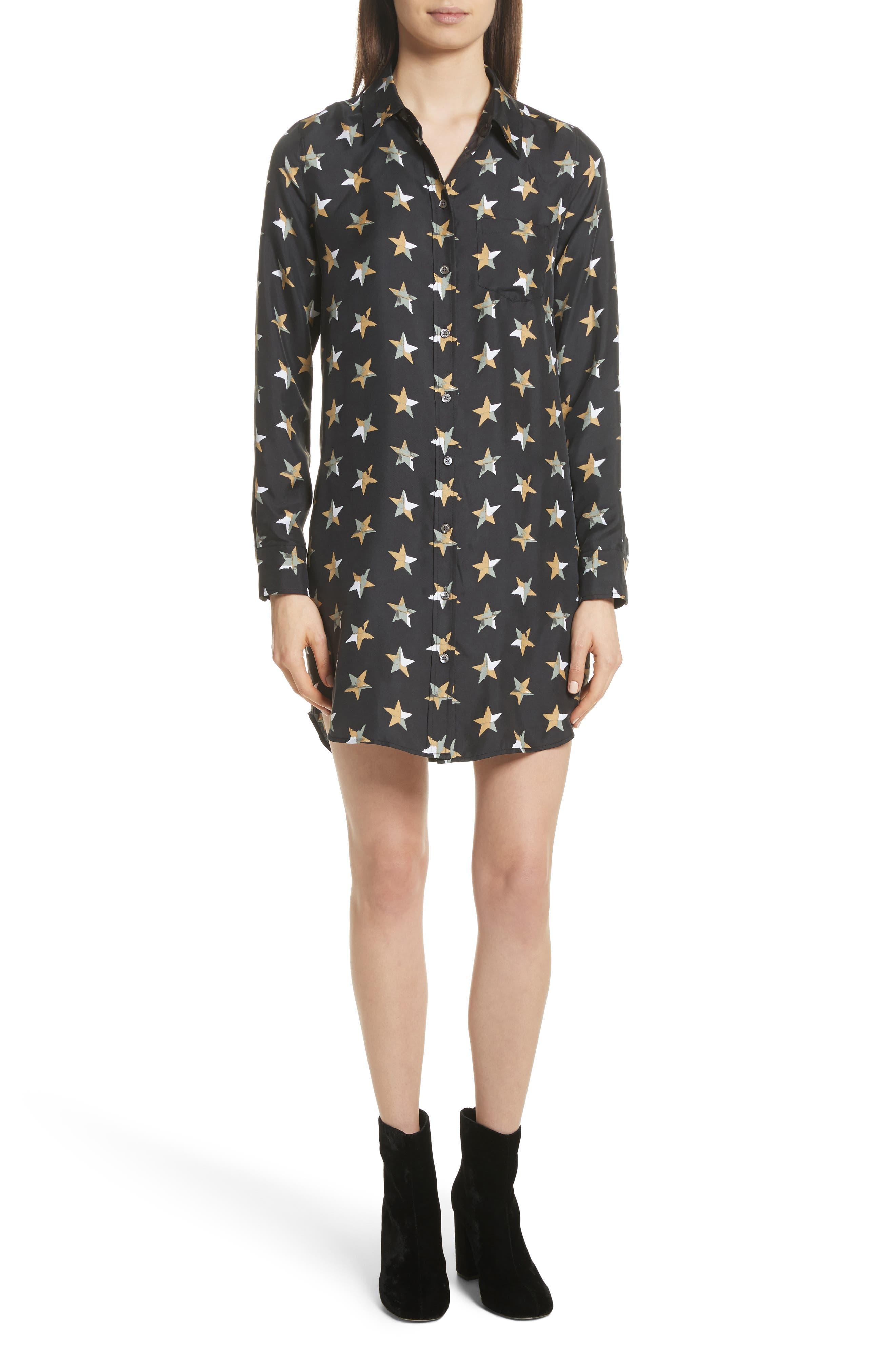 Brett Star Print Silk Shirtdress,                         Main,                         color, 006