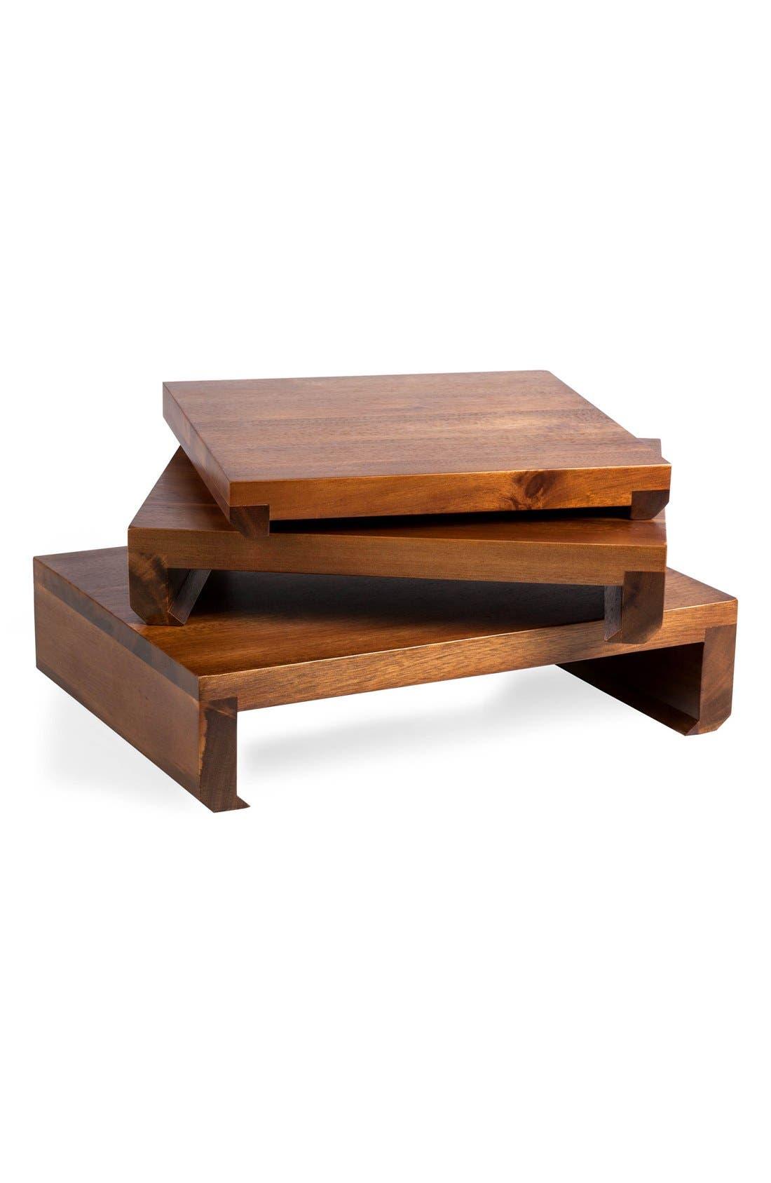 'Etage' Wood Serving Pedestals,                             Main thumbnail 1, color,                             BROWN