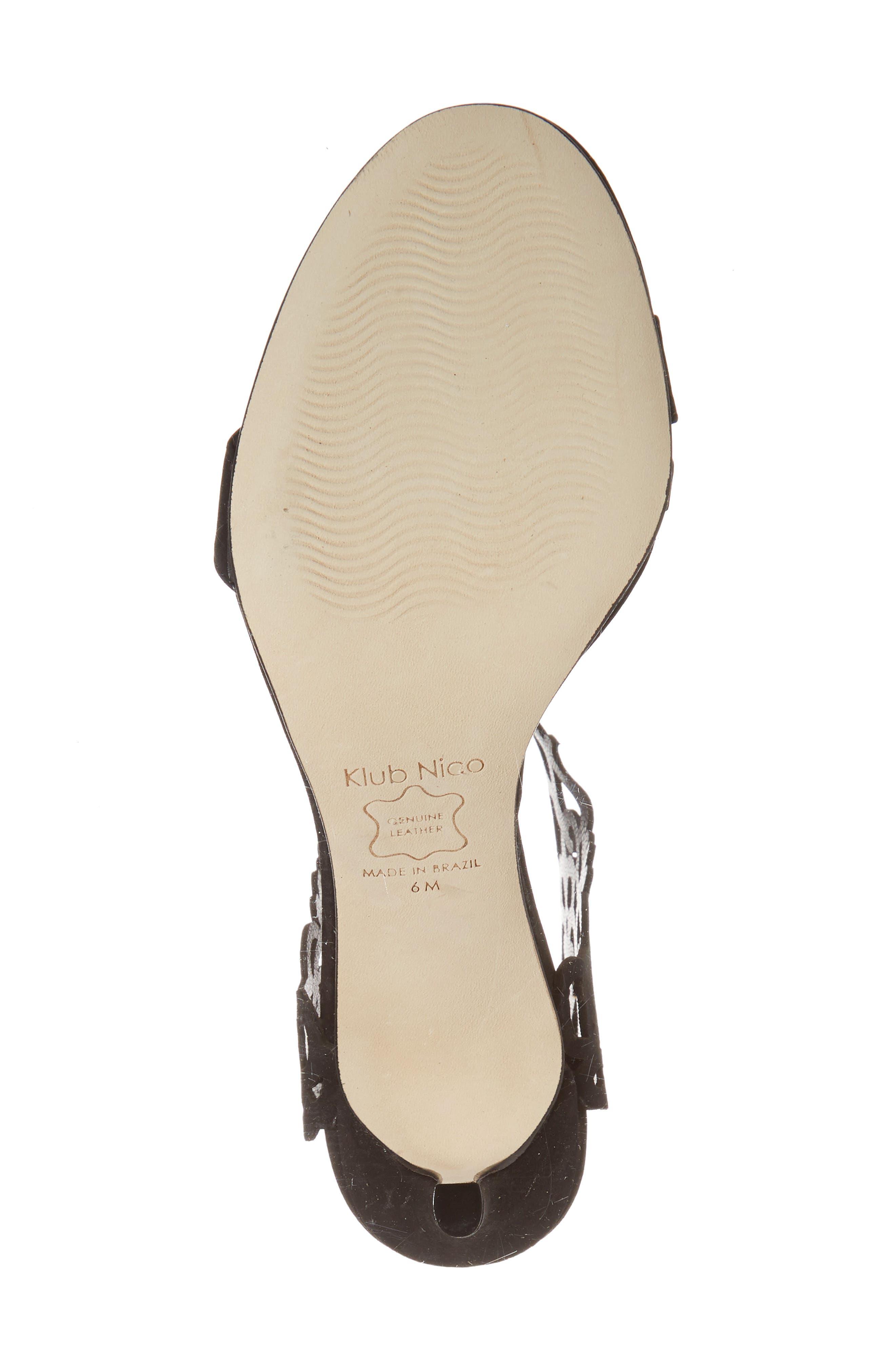 Adira Laser Cut Sandal,                             Alternate thumbnail 6, color,                             BLACK LEATHER
