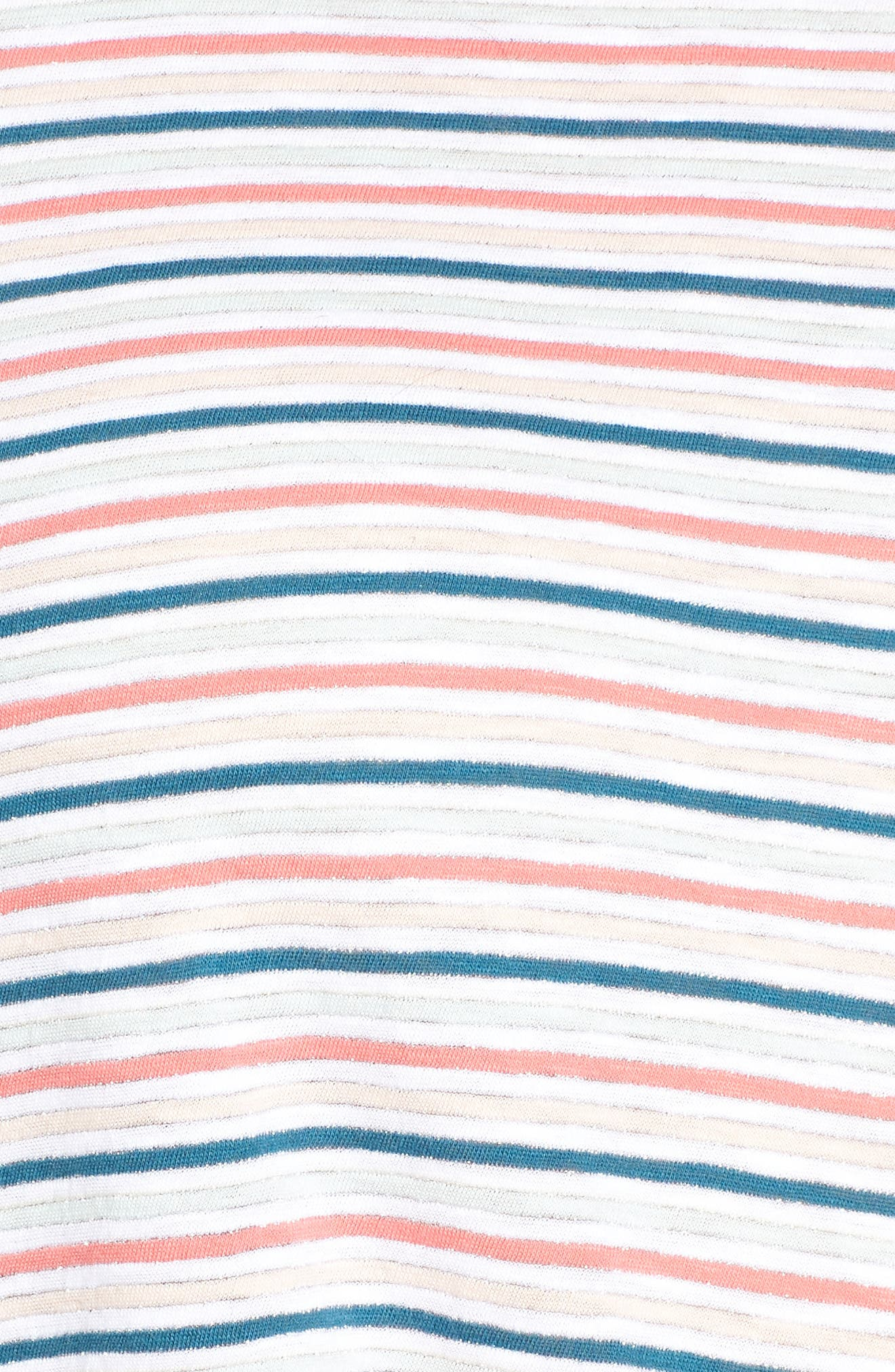 Knot Front Tee,                             Alternate thumbnail 5, color,                             NAVY- IVORY CANDY STRIPE