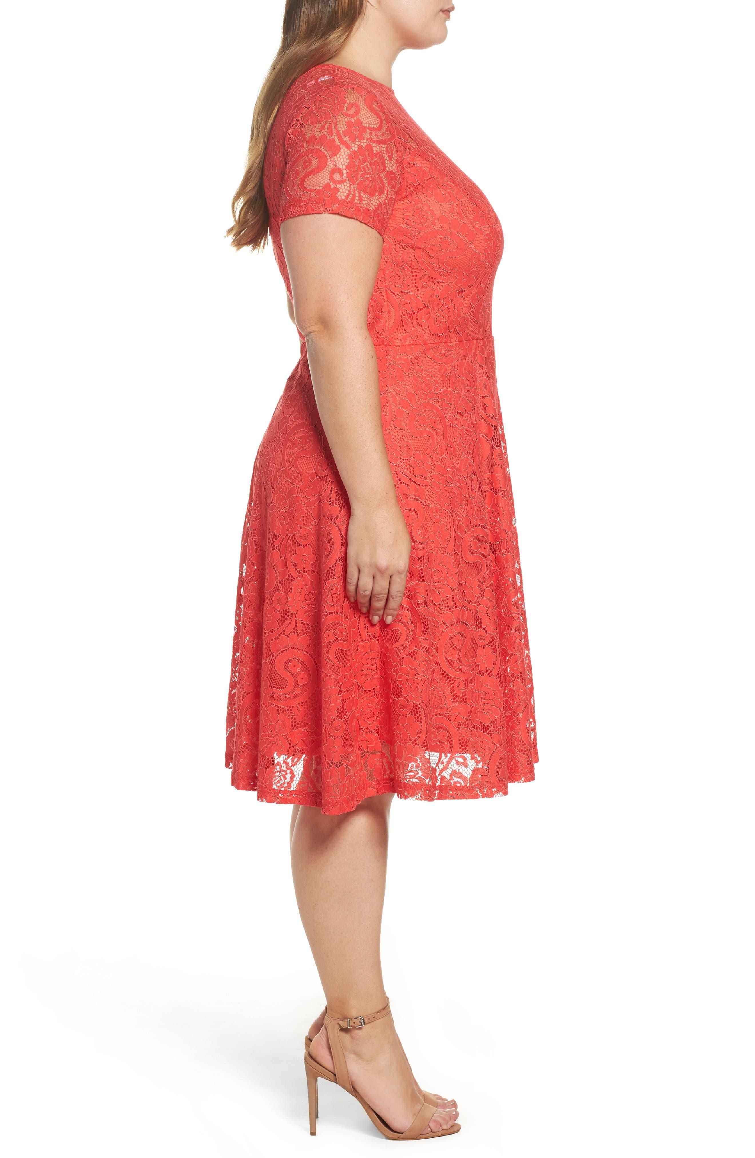 Lace Fit & Flare Dress,                             Alternate thumbnail 4, color,                             620