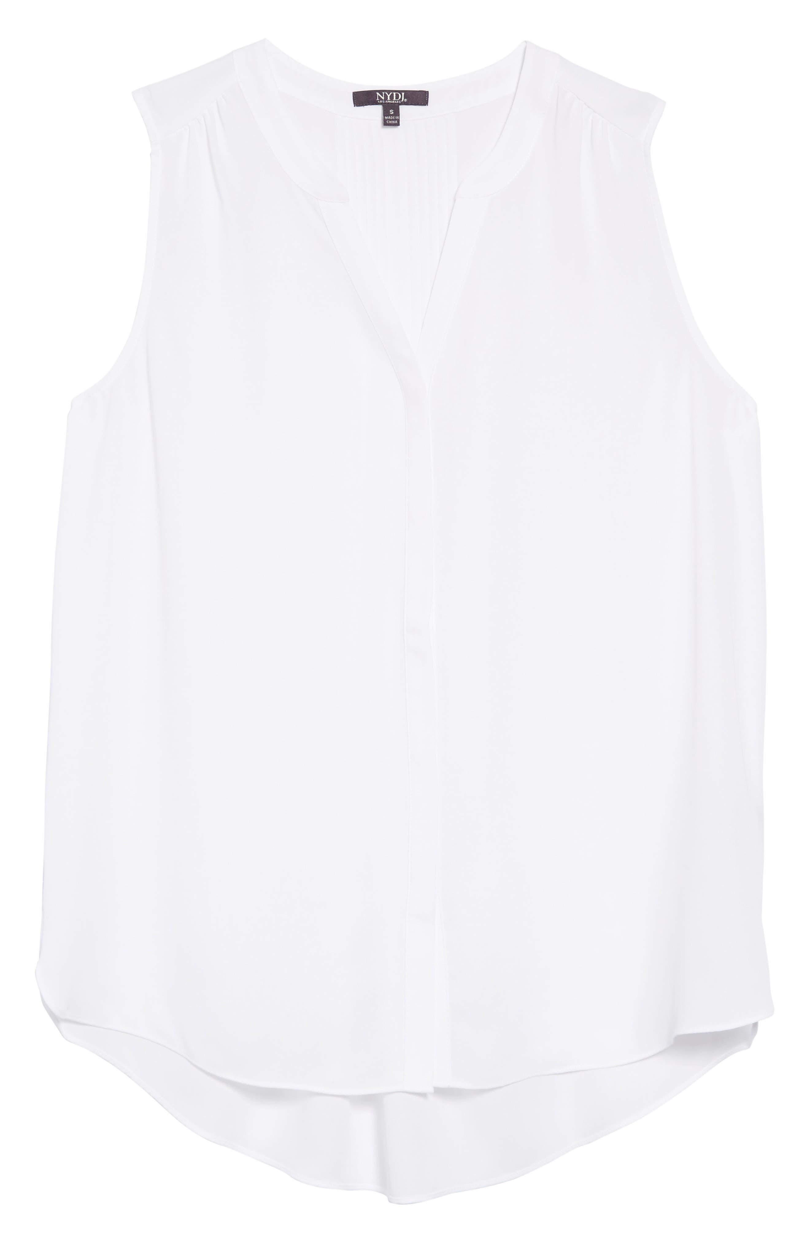 Pleat Back Sleeveless Split Neck Blouse,                         Main,                         color, OPTIC WHITE