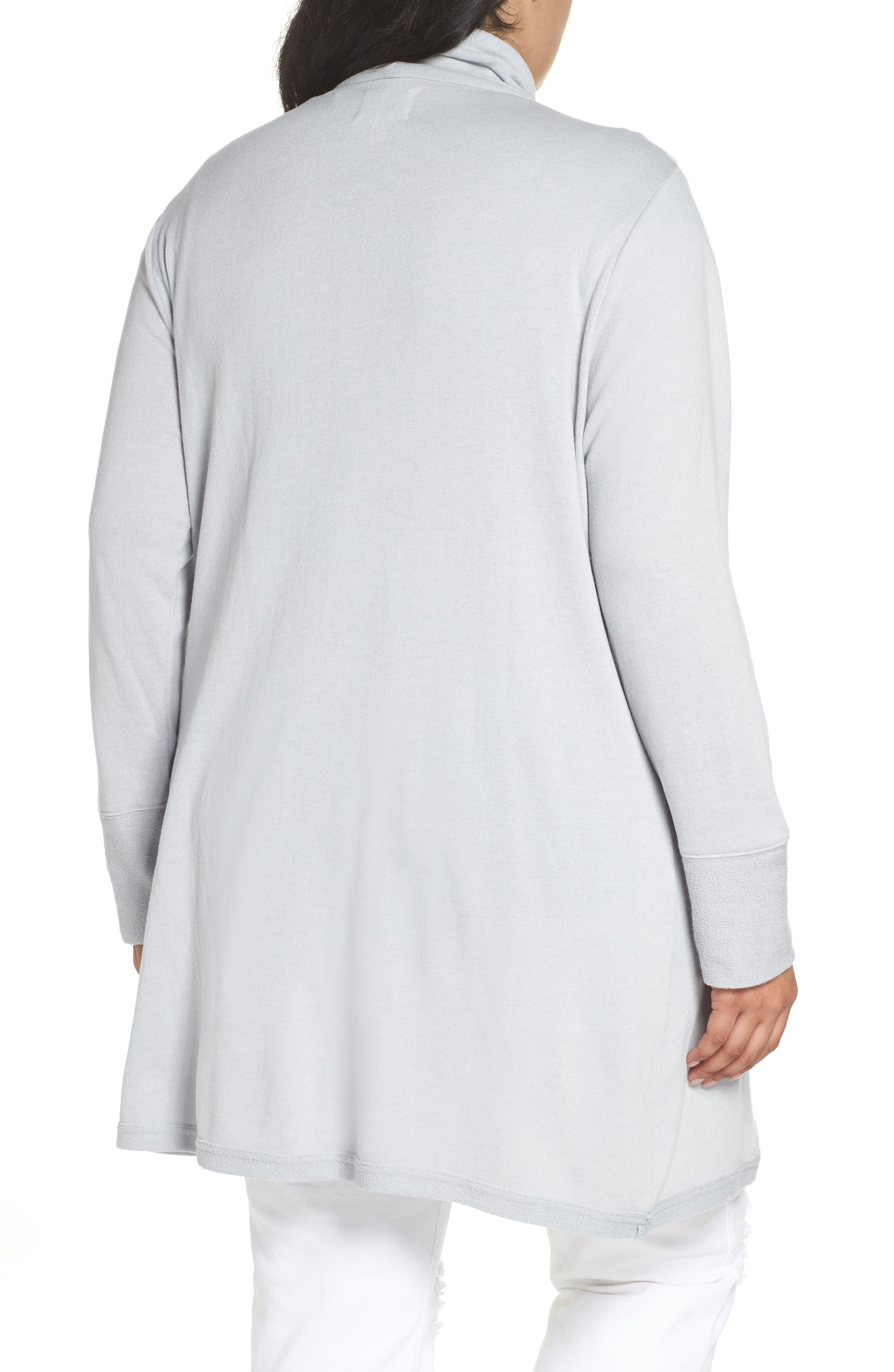 Asymmetrical Zip Long Cardigan,                             Alternate thumbnail 2, color,                             GREY