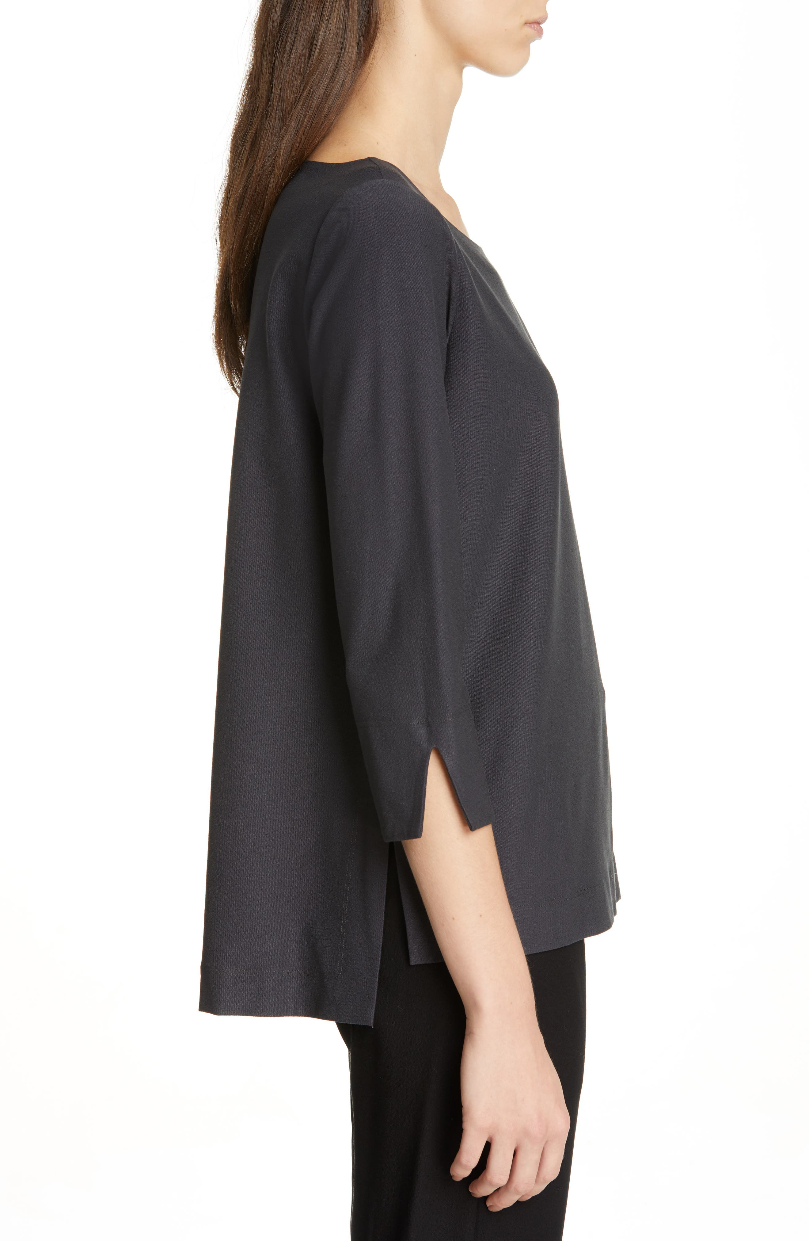 EILEEN FISHER,                             Boxy Jersey Top,                             Alternate thumbnail 3, color,                             GRAPHITE
