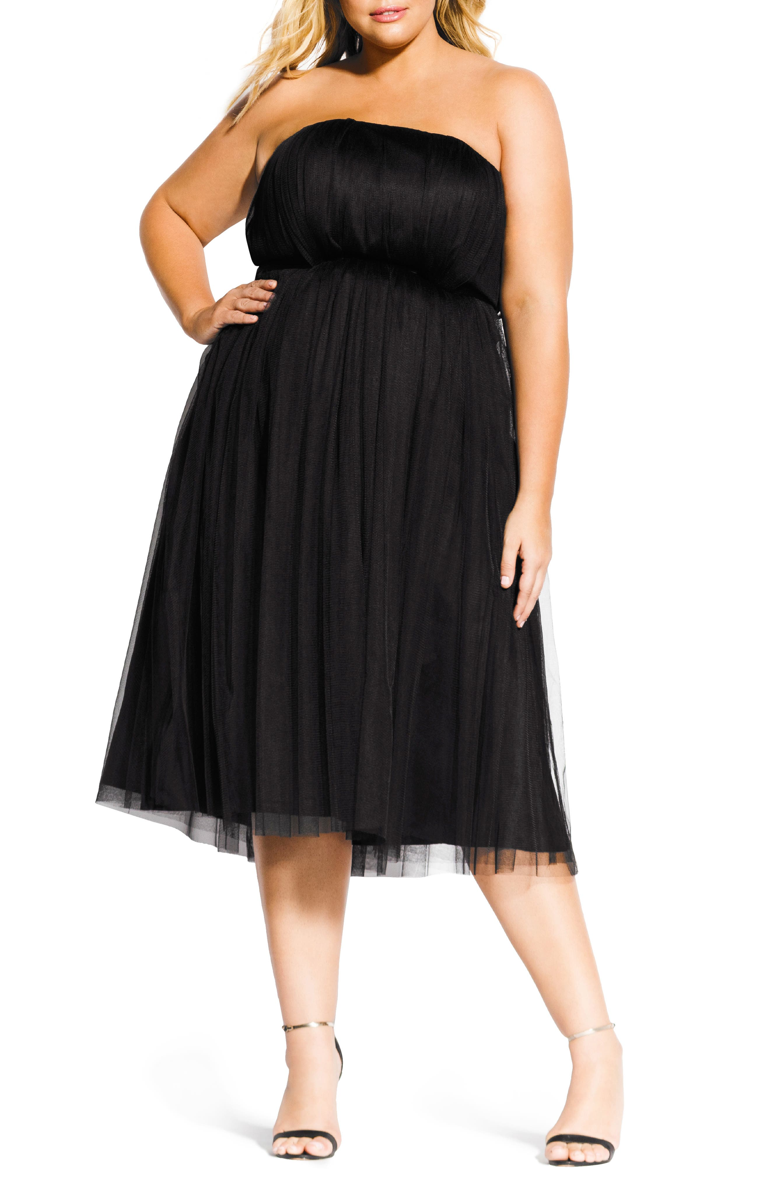 1950s Prom Dresses & Party Dresses Plus Size Womens City Chic Tulle Midi Dress $169.00 AT vintagedancer.com