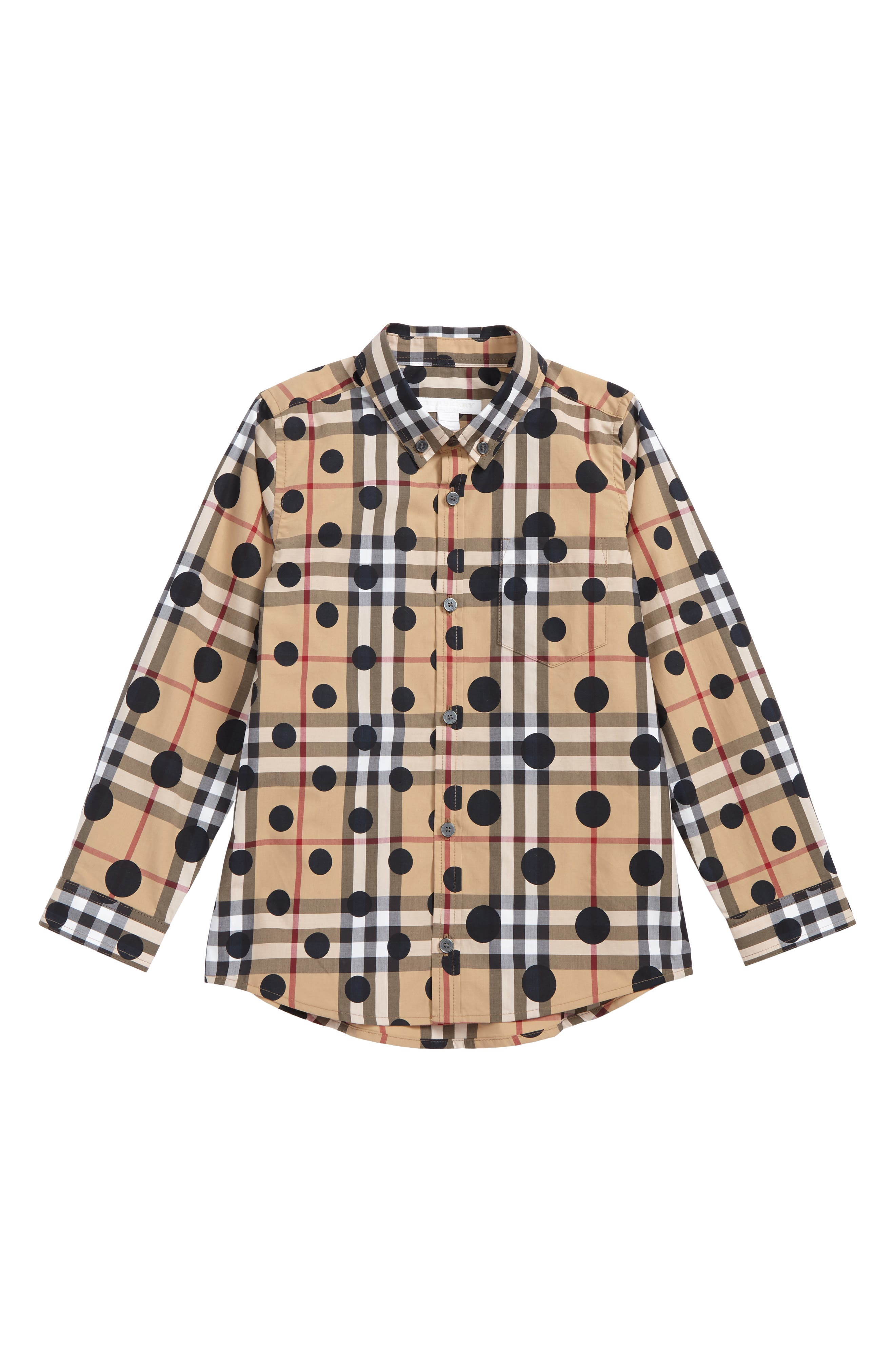 Mini Fred Polka Dot & Check Print Shirt,                             Main thumbnail 1, color,                             272