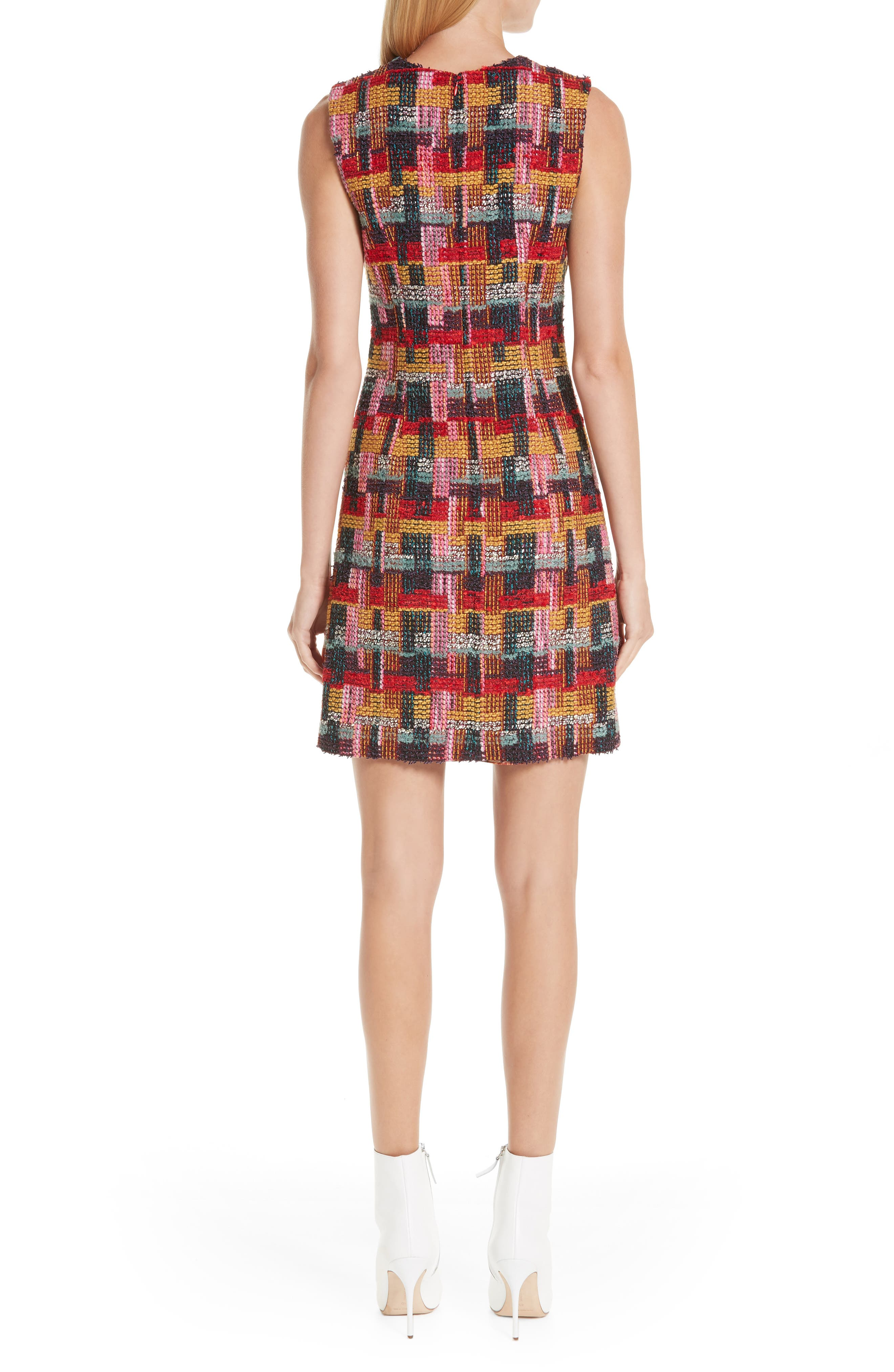 Multicolor Tweed Sheath Dress,                             Alternate thumbnail 2, color,                             RED