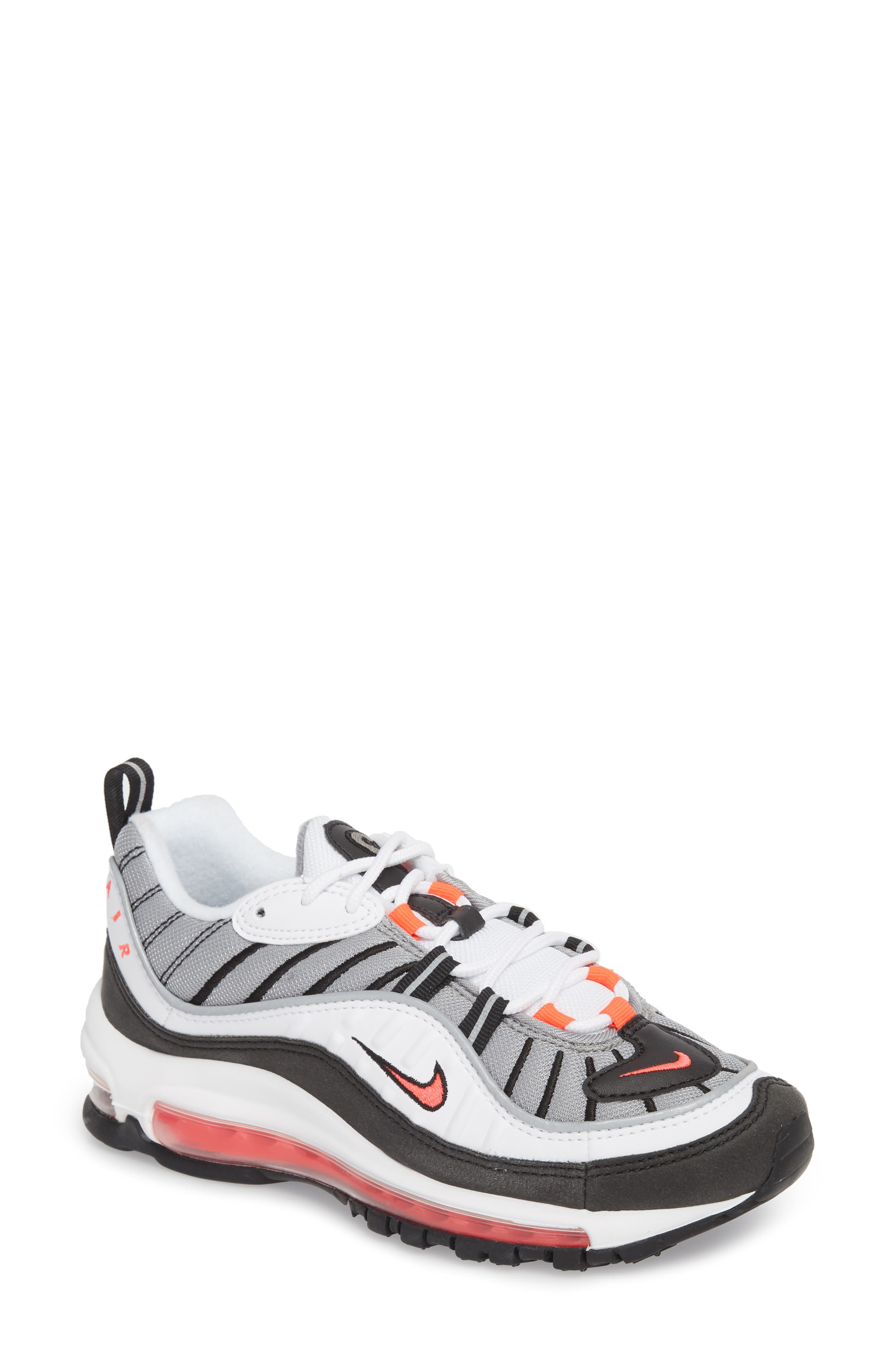 Air Max 98 Running Shoe,                             Main thumbnail 1, color,                             WHITE/ RED/ DUST/ REFLECT