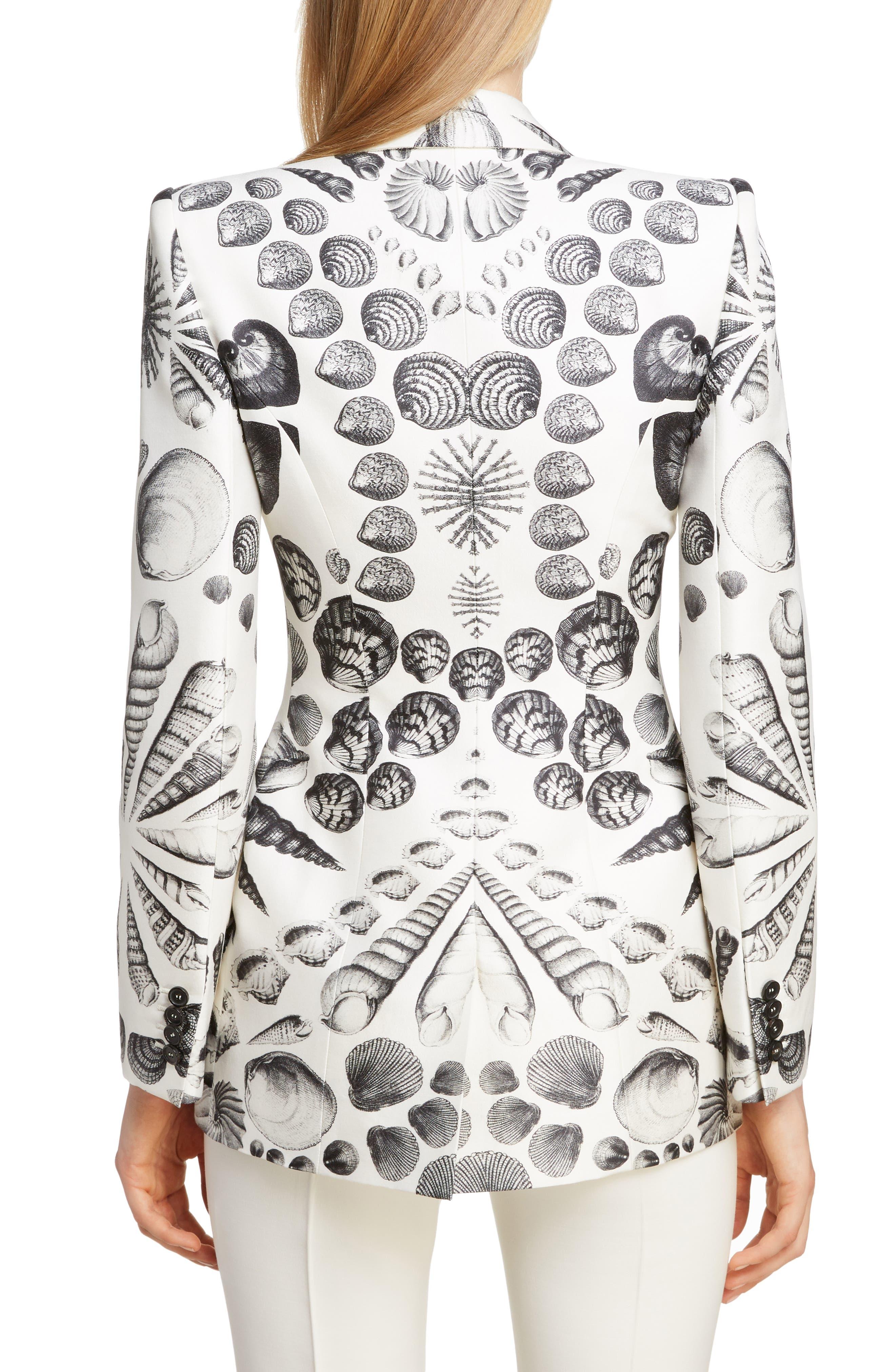Shell Print Wool & Silk Blazer,                             Alternate thumbnail 2, color,                             IVORY BLACK